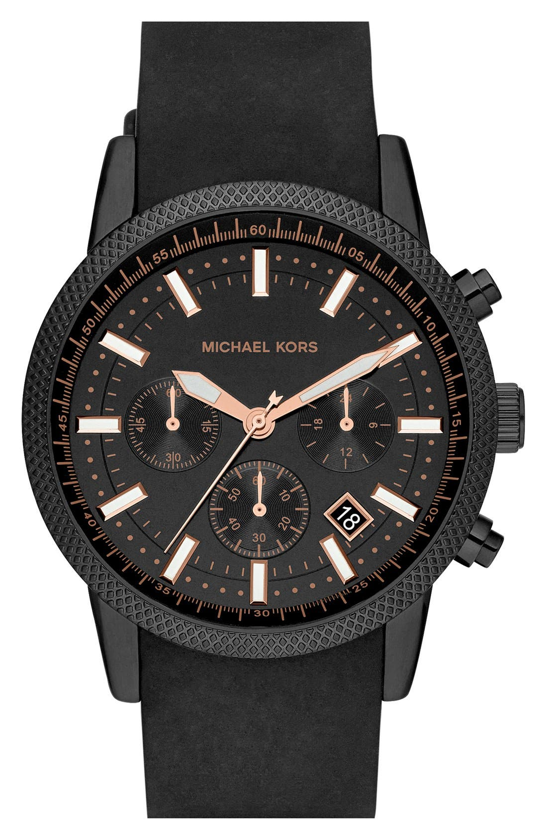 Michael Kors 'Scout' Chronograph Silicone Strap Watch, 43mm,                         Main,                         color, Black/ Rose Gold
