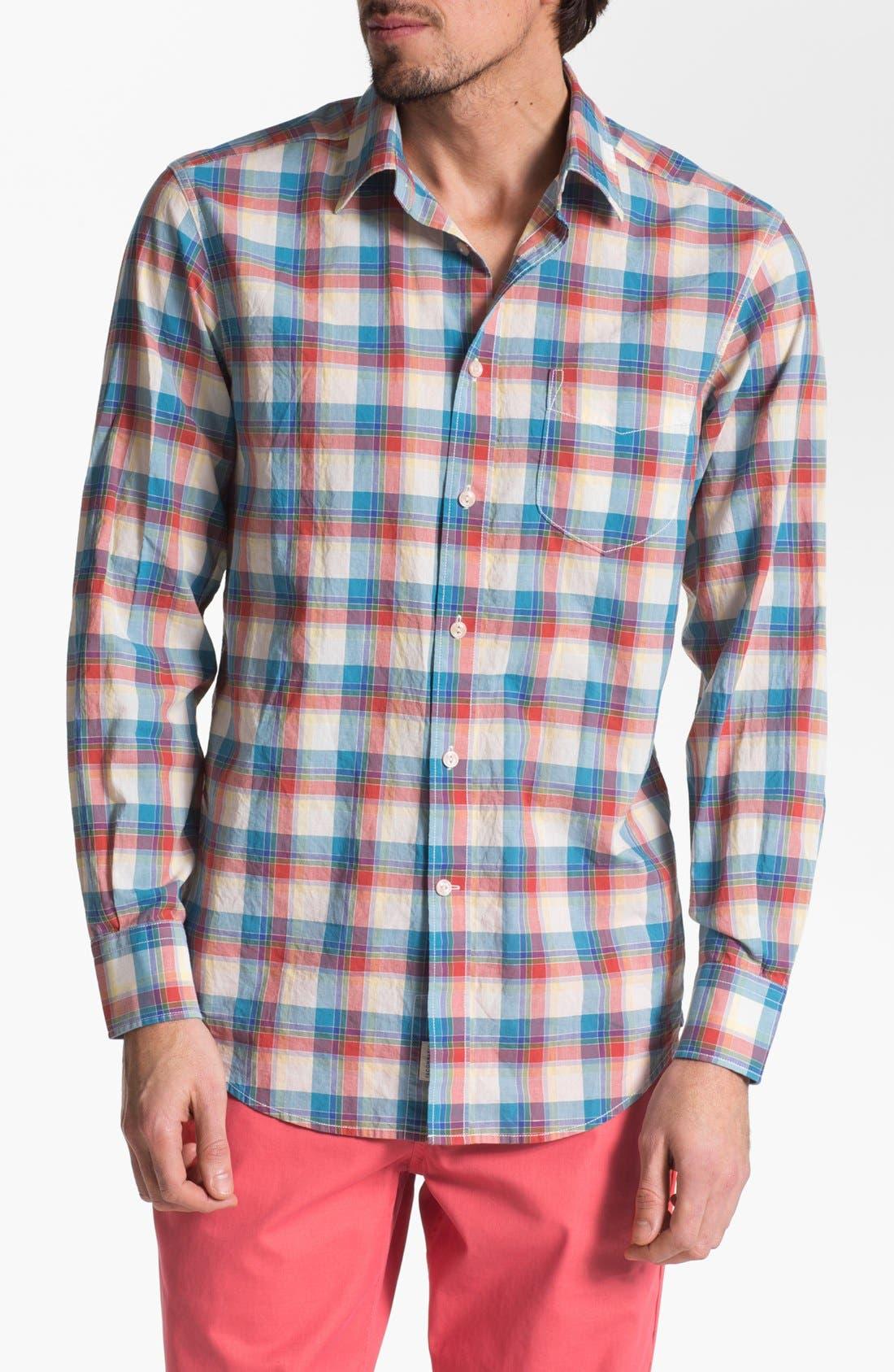 Alternate Image 1 Selected - Façonnable Tailored Denim Plaid Sport Shirt