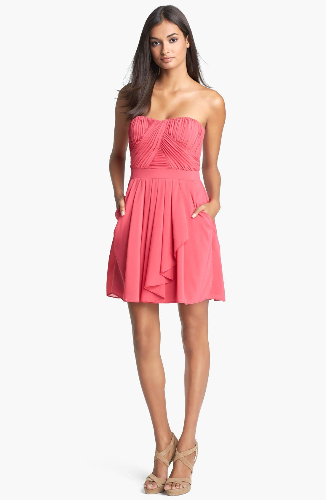 Alternate Image 1 Selected - Aidan Mattox Strapless Pleated Fit & Flare Dress