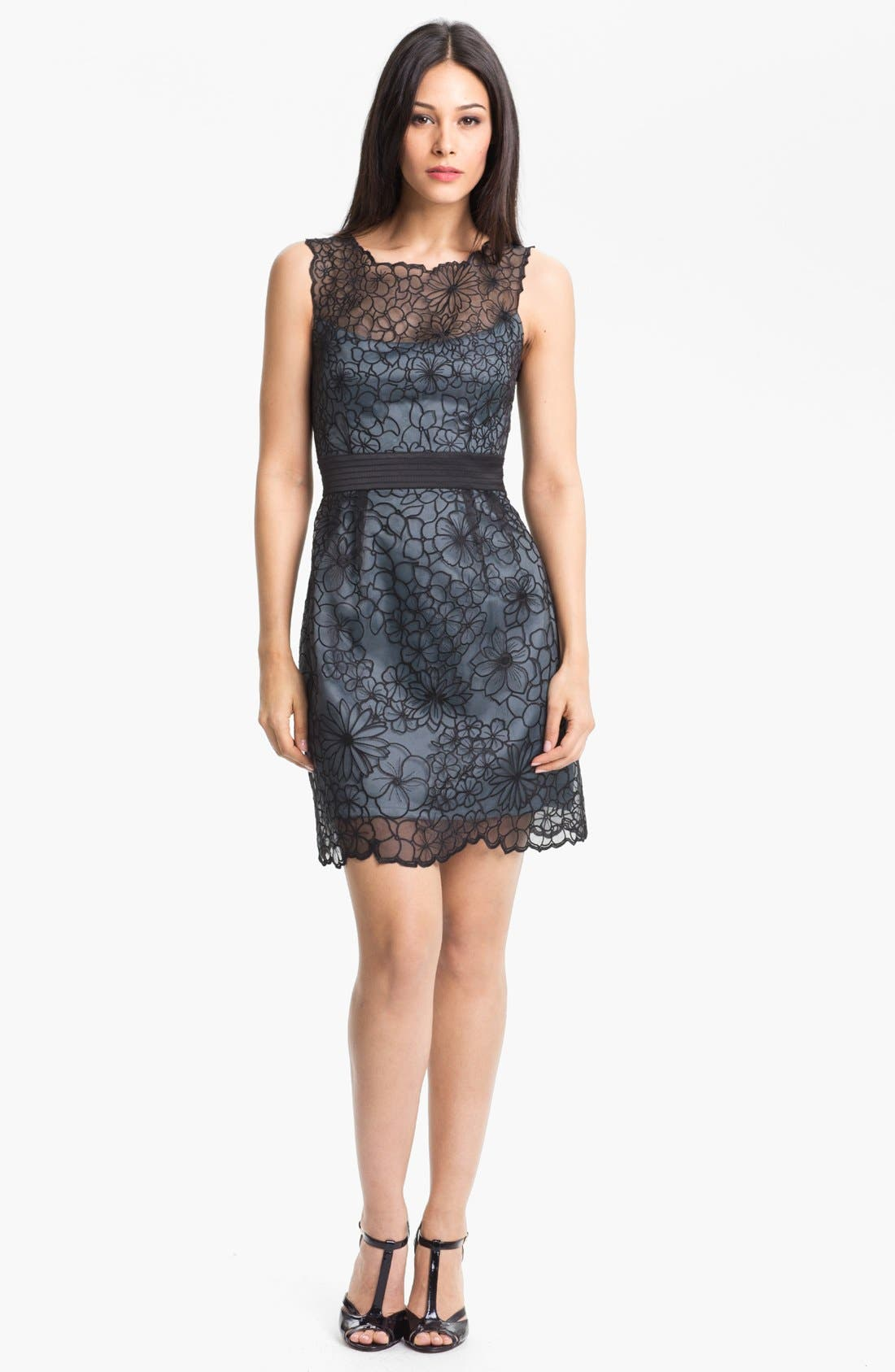 Alternate Image 1 Selected - Adrianna Papell Embroidered Organza Sheath Dress