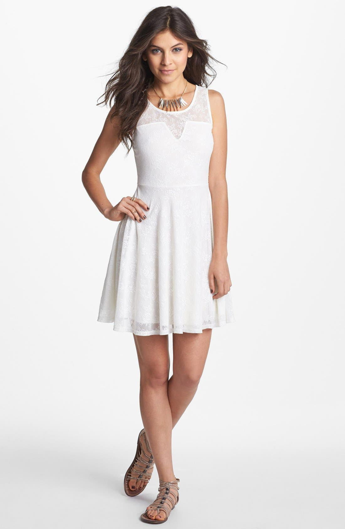 Main Image - Soprano Illusion Yoke Lace Skater Dress (Juniors)