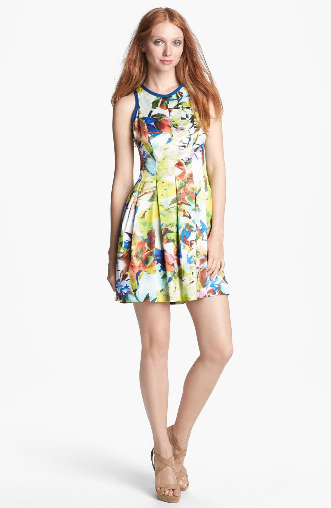 Main Image - Parker 'Rio' Stretch Silk Fit & Flare Dress