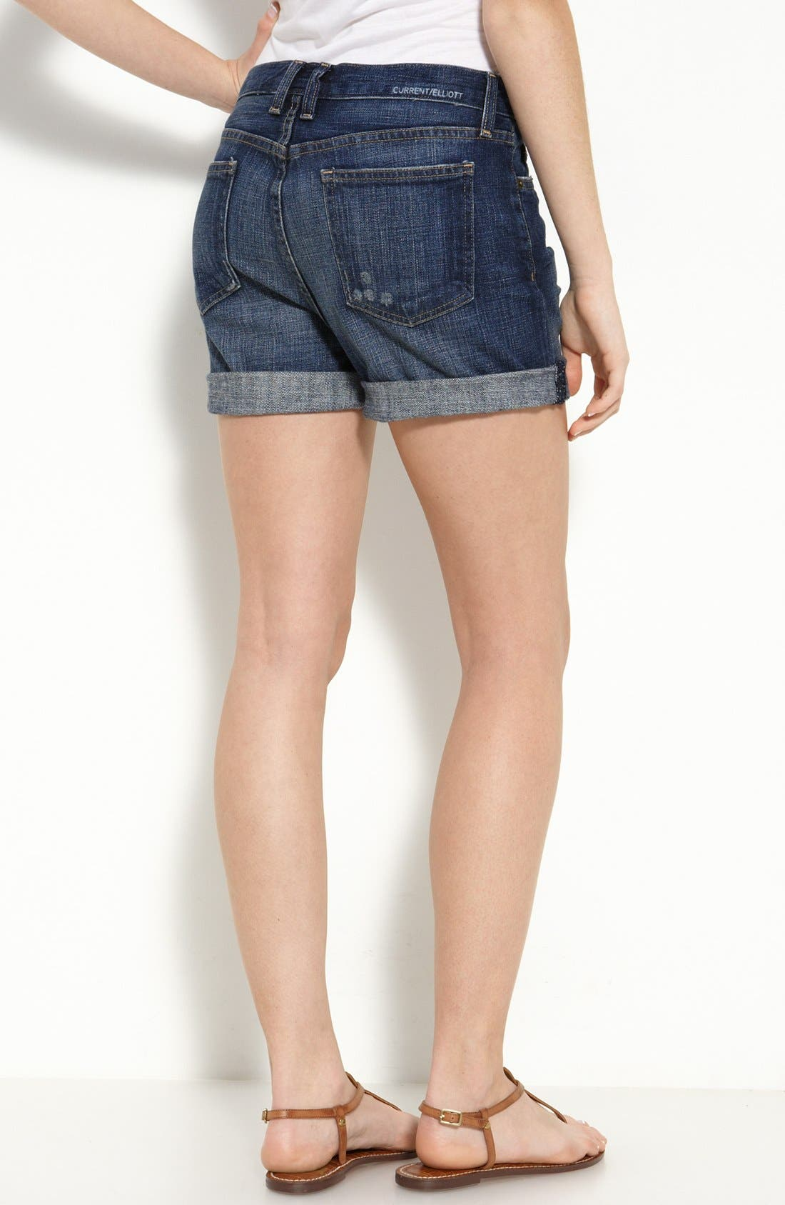 Main Image - Current/Elliott 'The Roll' Stretch Denim Shorts (Loved Wash)