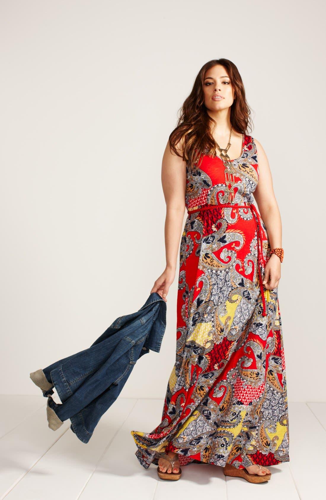 Alternate Image 5  - Lucky Brand 'Marrakesh' Paisley Print Maxi Dress (Plus Size)