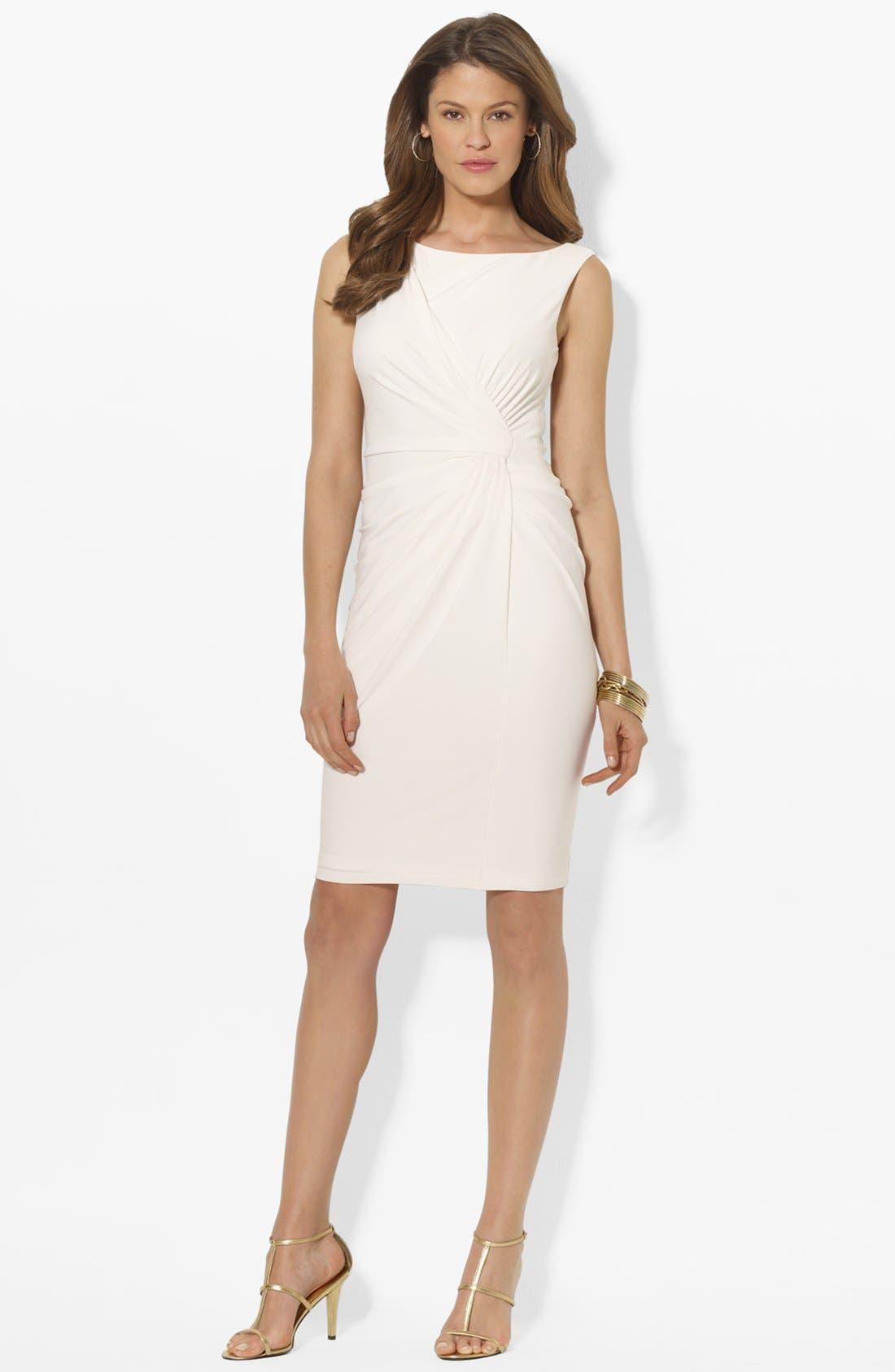 Main Image - Lauren Ralph Lauren Knot Front Matte Jersey Sheath Dress