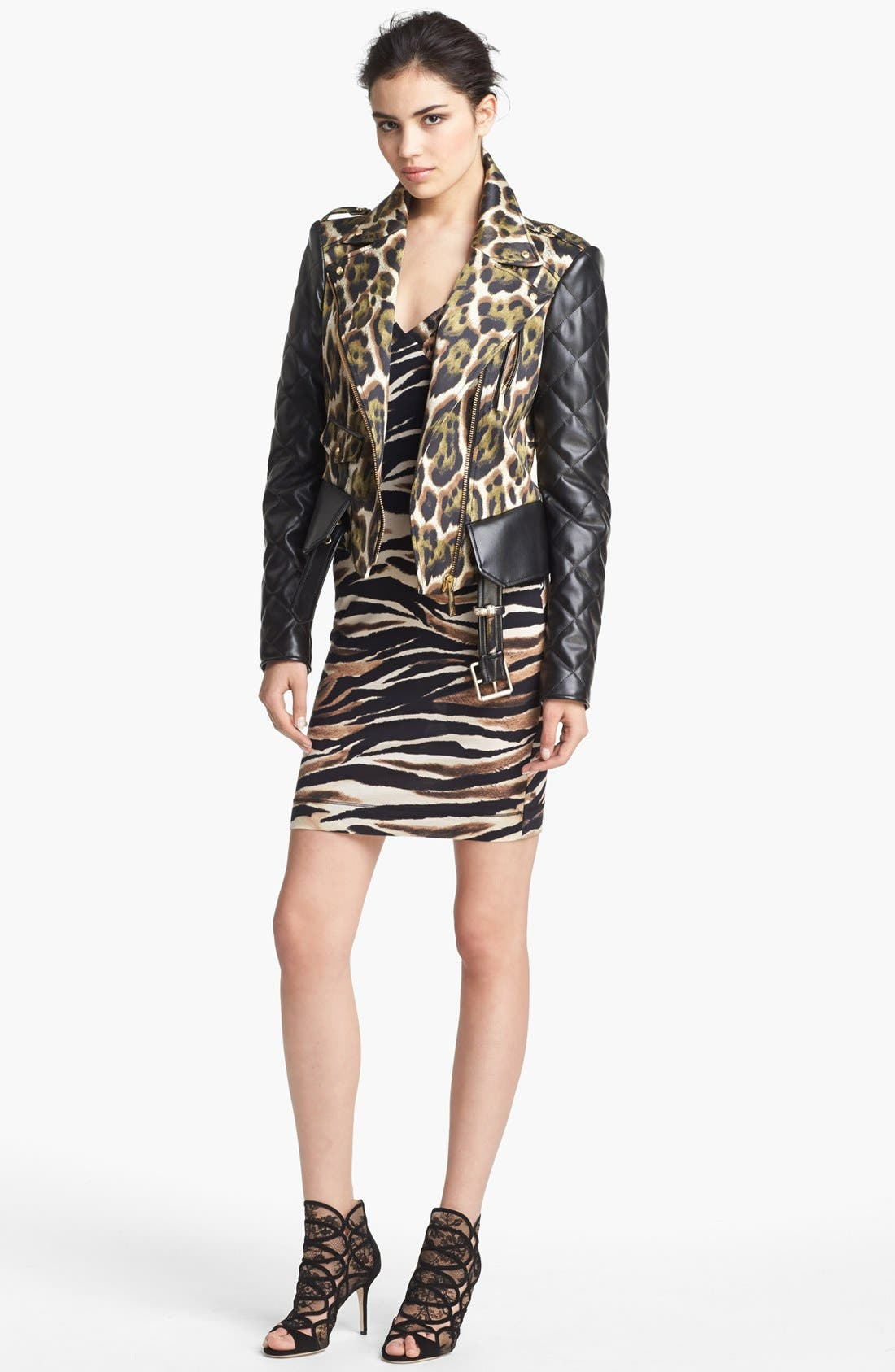 Alternate Image 5  - Just Cavalli Canvas & Leather Moto Jacket