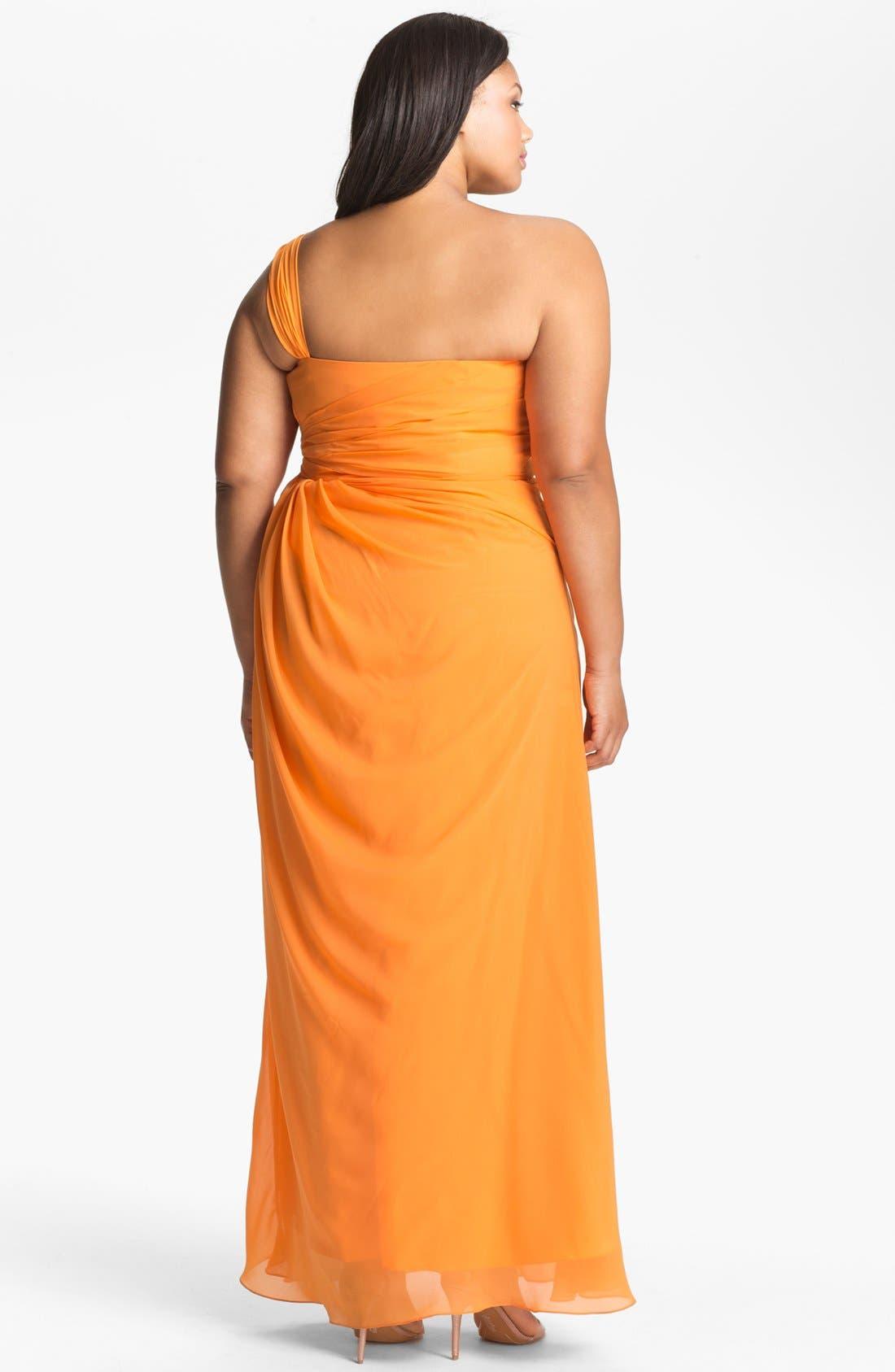 Alternate Image 2  - Dalia MacPhee Gathered One Shoulder Gown (Juniors Plus)