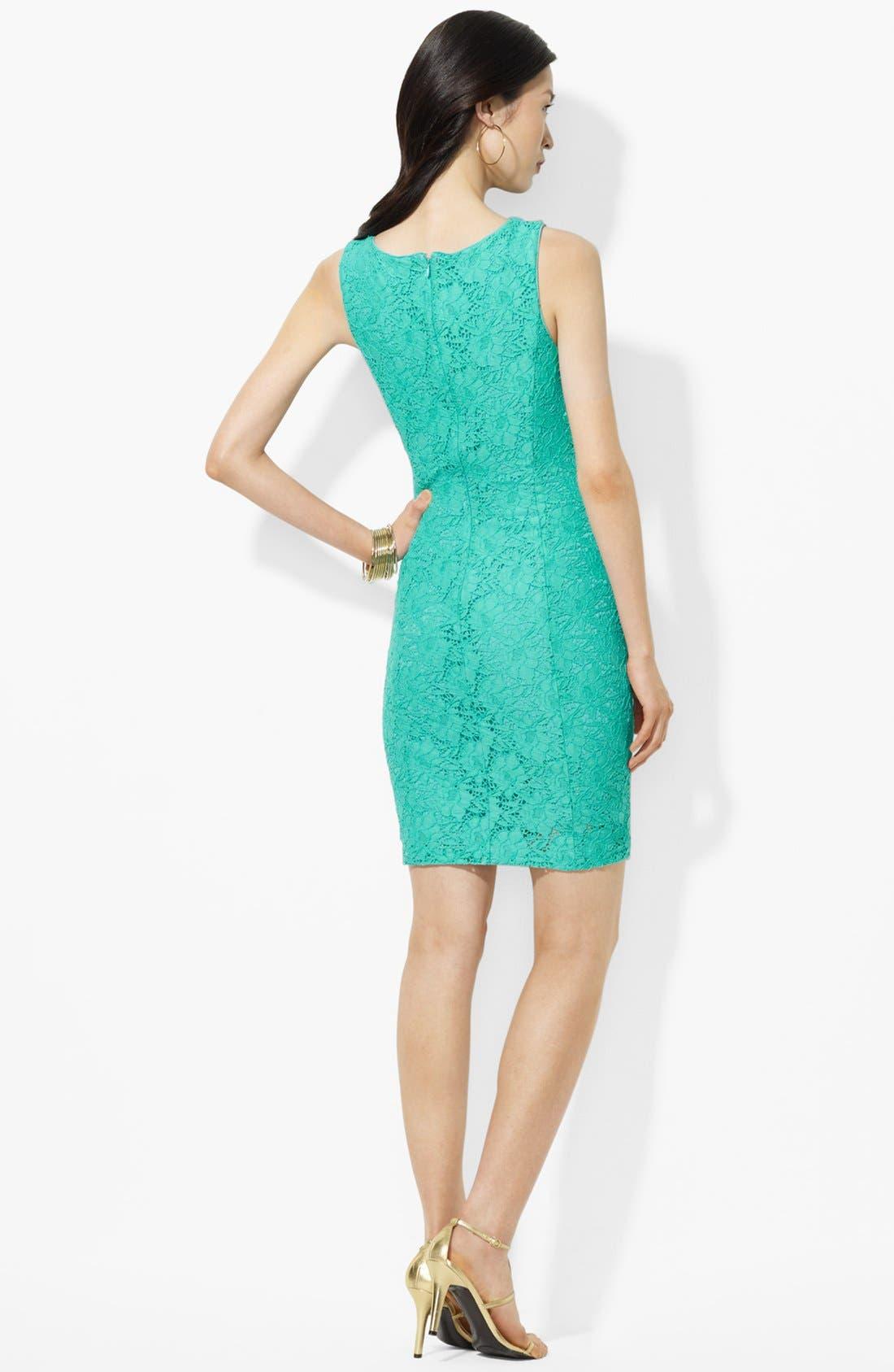 Alternate Image 2  - Lauren Ralph Lauren Lace Sheath Dress