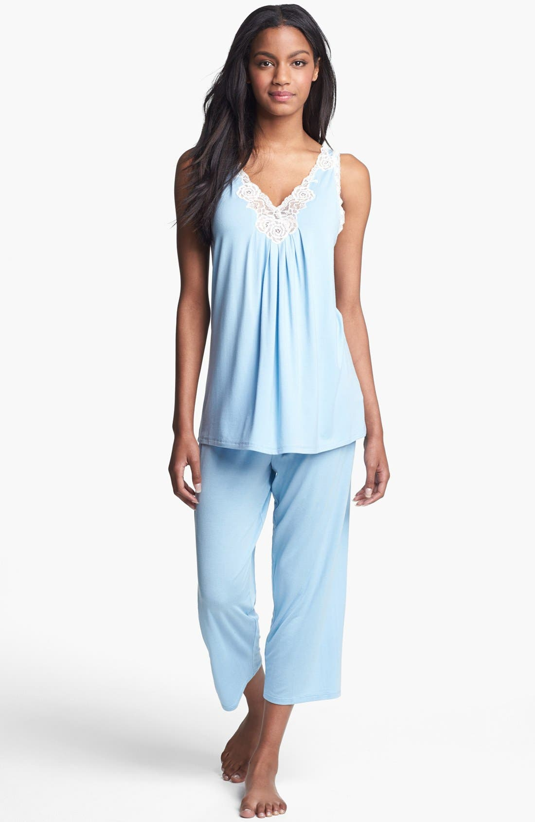 Main Image - Midnight by Carole Hochman Lace Trim Capri Pajamas