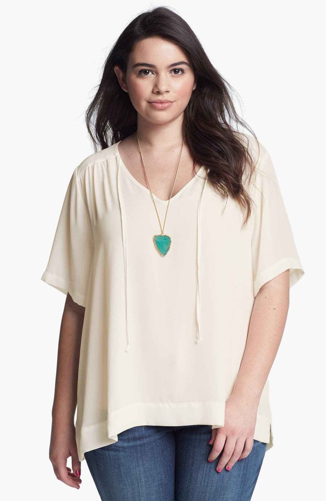 Alternate Image 1 Selected - Eight Sixty V-Neck Blouse (Plus Size)