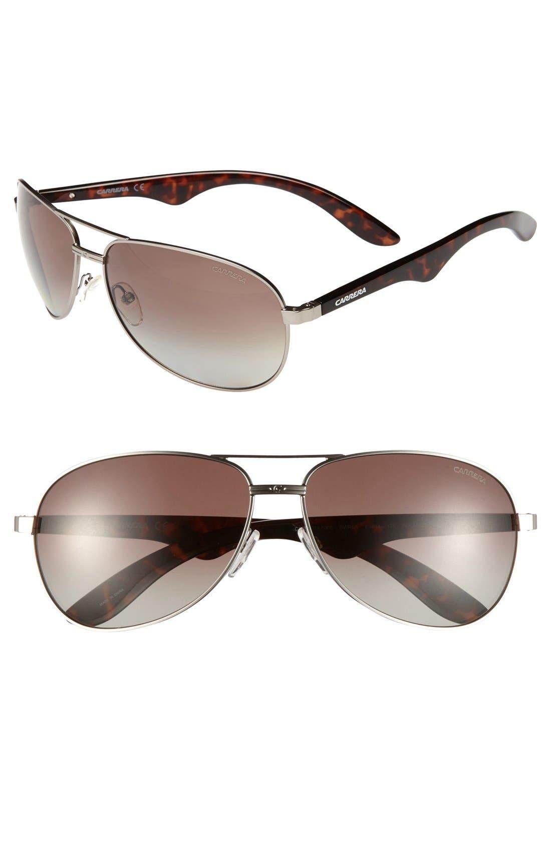 Alternate Image 1 Selected - Carrera Eyewear 63mm Stainless Steel Aviator Sunglasses