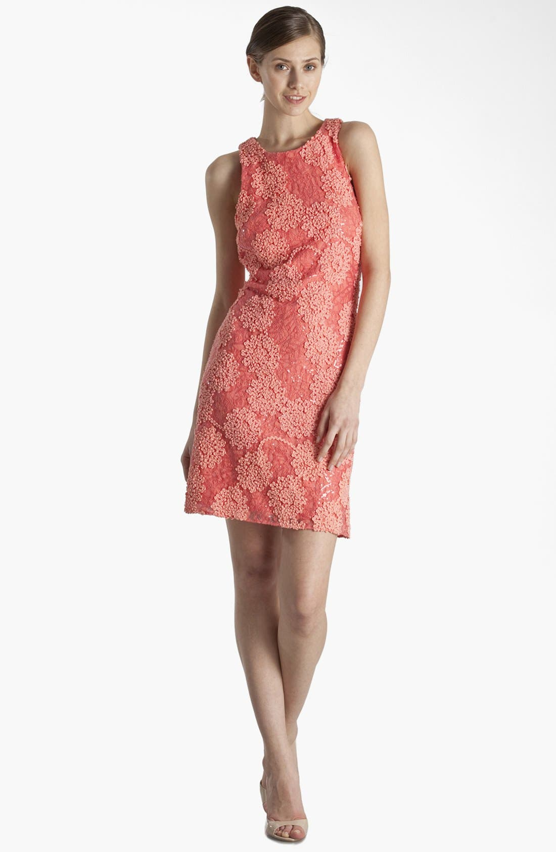 Main Image - JS Boutique Racerback Sequin Lace Sheath Dress