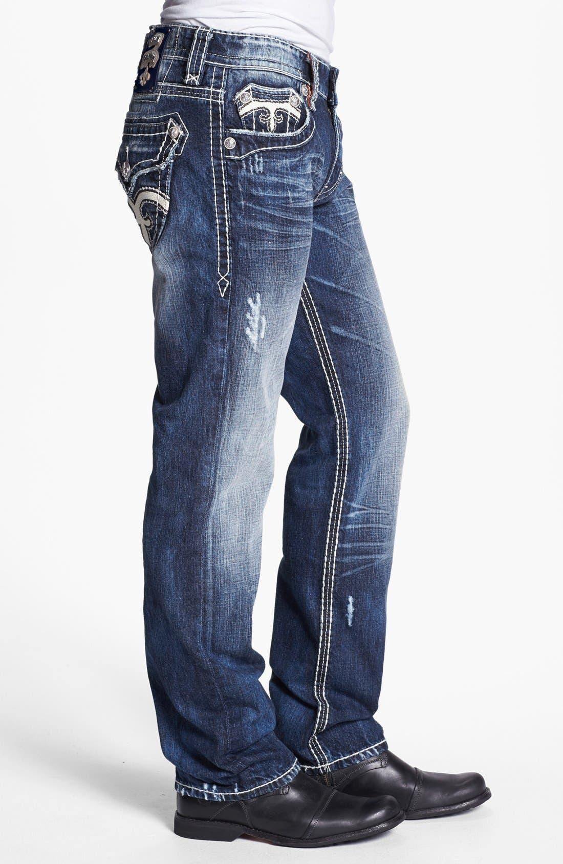 Alternate Image 3  - Rock Revival 'Mick' Straight Leg Jeans (Medium Blue)