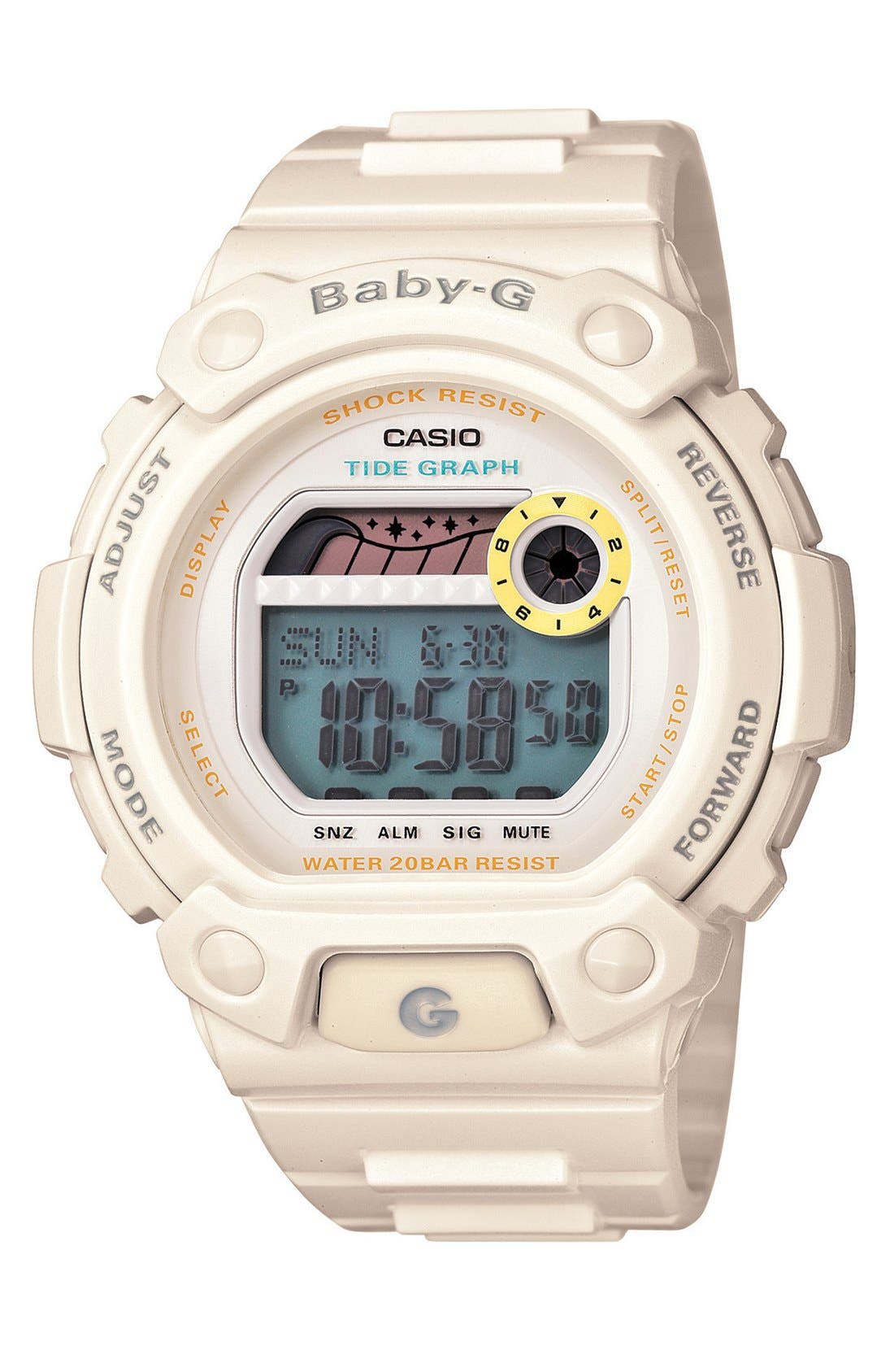 Alternate Image 1 Selected - Baby-G 'Tidegraph' Digital Watch, 45mm x 42mm