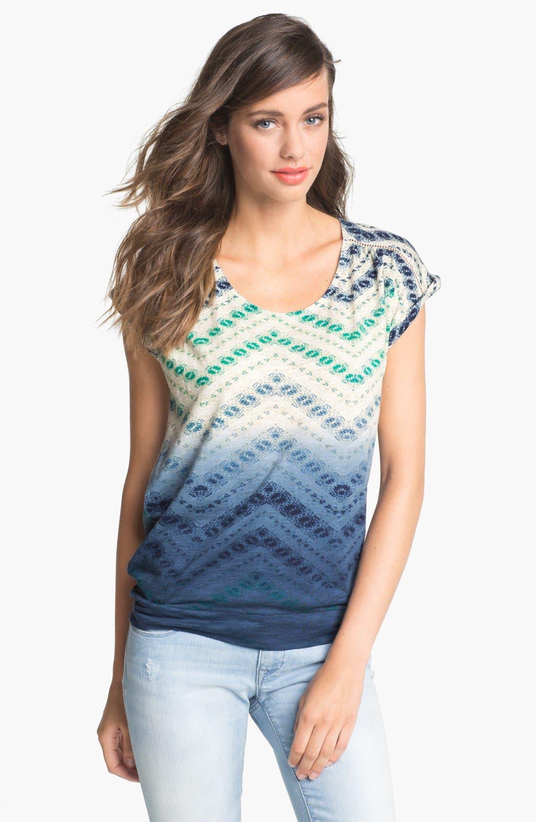 Alternate Image 1 Selected - Lucky Brand 'Cobra Basket' Ombré Print Top (Plus Size)