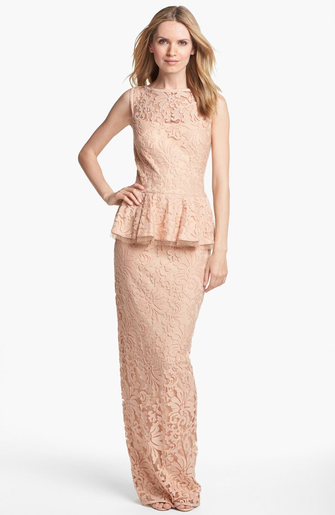 Alternate Image 1 Selected - Tadashi Shoji Sleeveless Lace Peplum Gown
