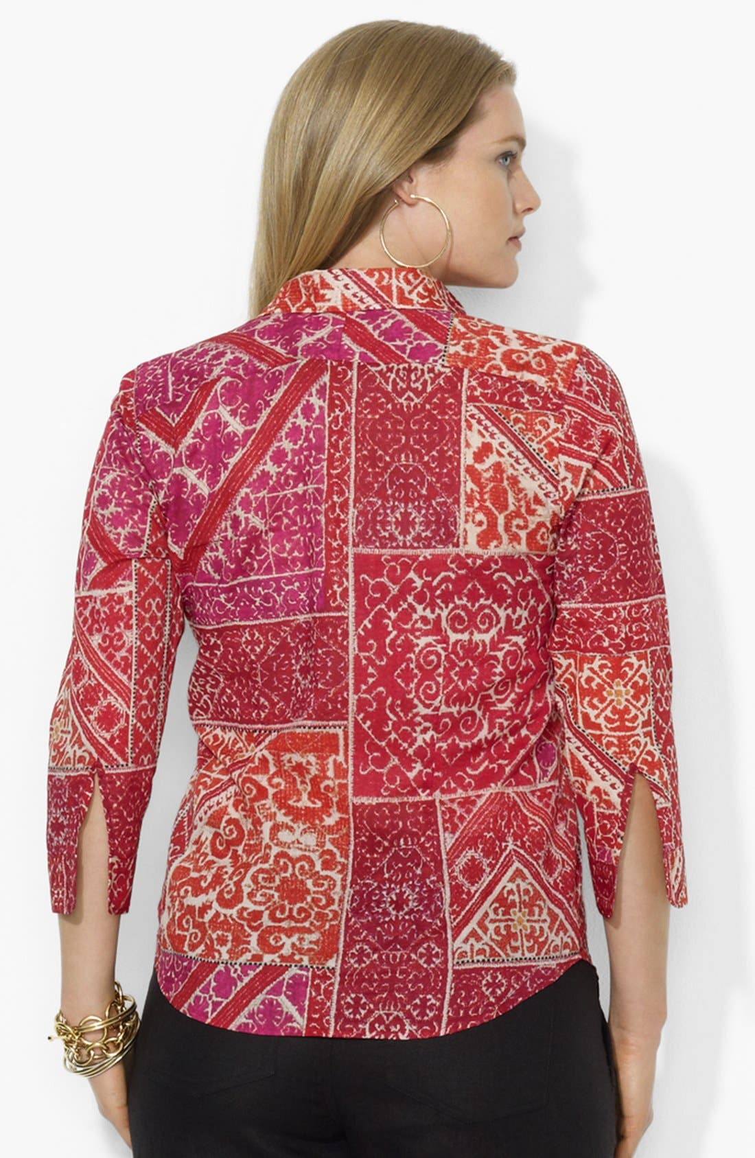 Alternate Image 2  - Lauren Ralph Lauren Print Cotton Voile Shirt (Plus Size)