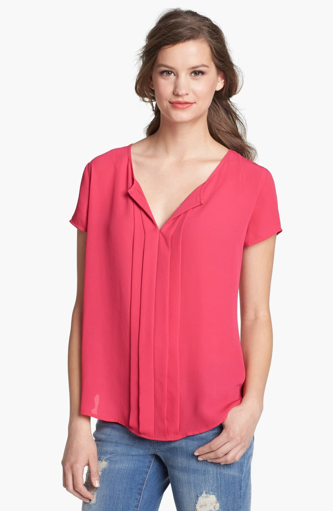 Alternate Image 1 Selected - Pleione Split Neck Pleat Front Top