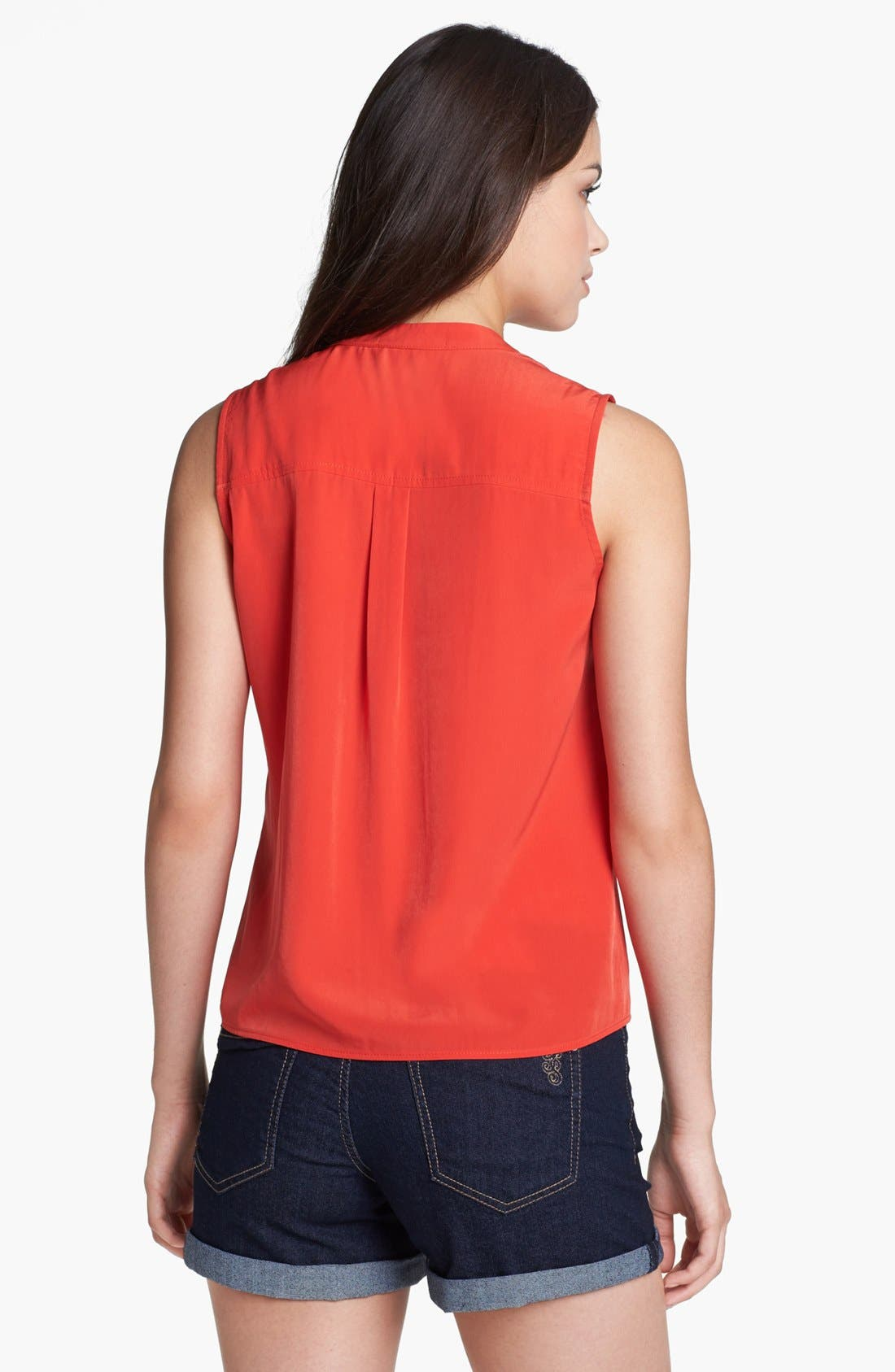Sleeveless Tie Front Blouse,                             Alternate thumbnail 2, color,                             Red