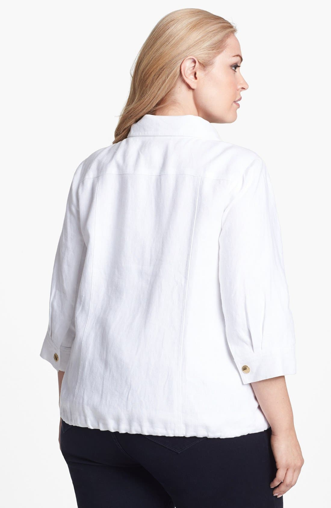 Alternate Image 2  - MICHAEL Michael Kors Wide Collar Linen Jacket (Plus Size)