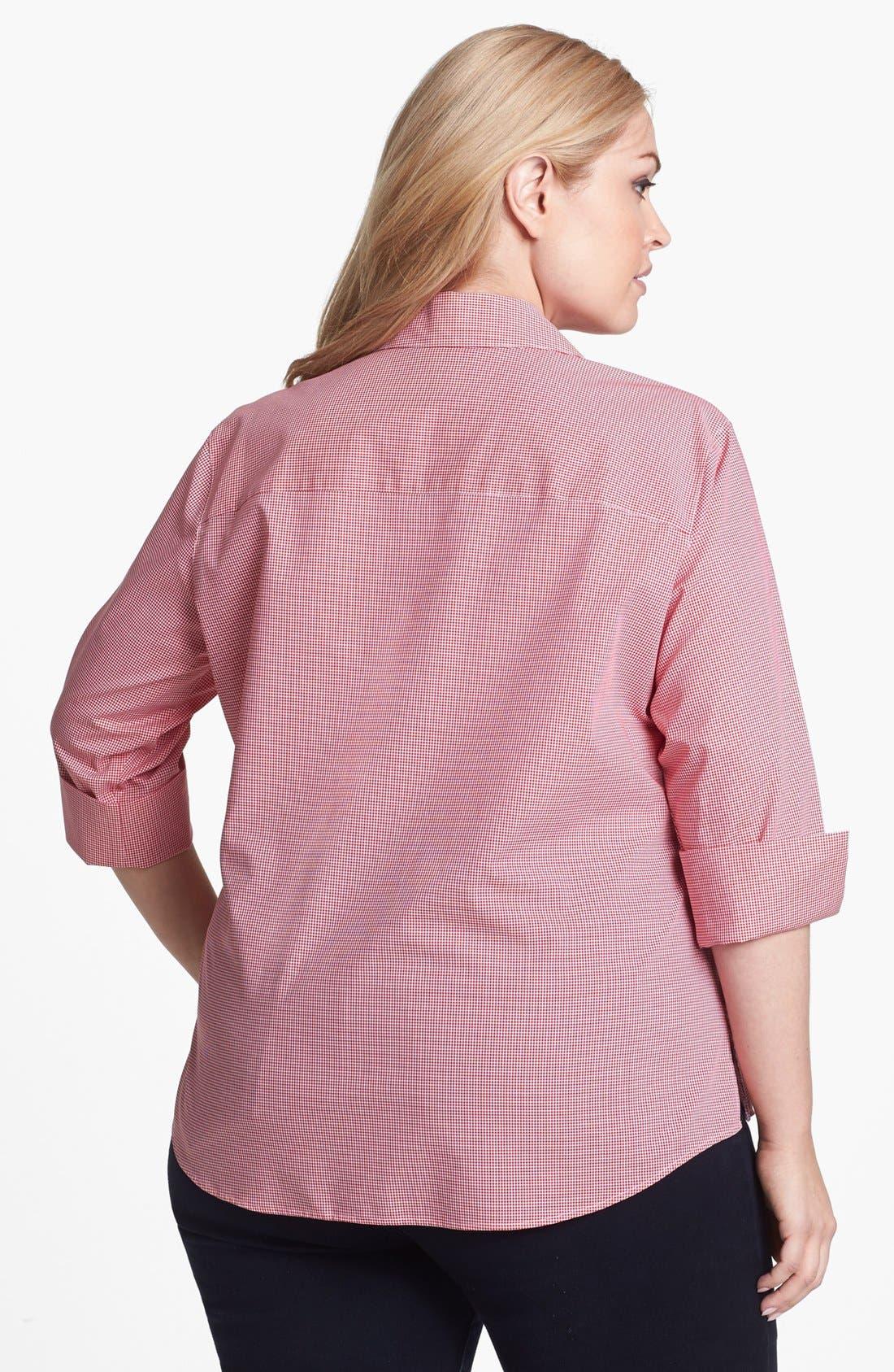 Alternate Image 2  - Foxcroft Mini Gingham Check Shirt (Plus Size)