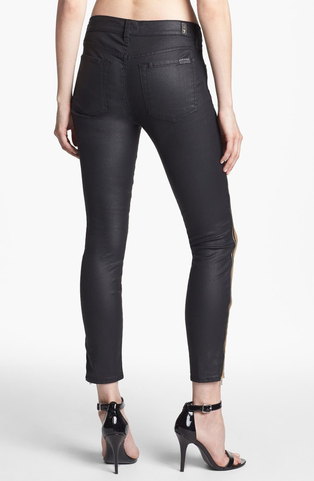 Alternate Image 2  - 7 For All Mankind® Coated Side Zip Pants