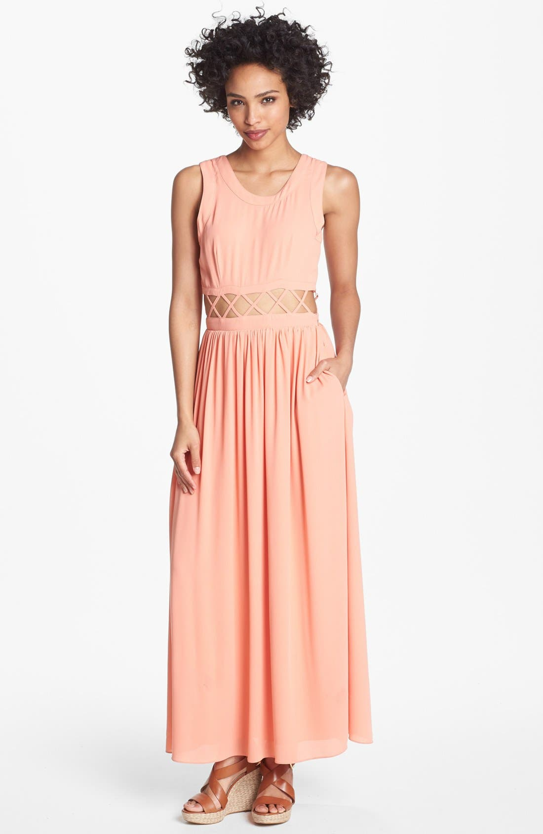 Alternate Image 1 Selected - Lovers + Friends 'Calling You' Cutout Maxi Dress