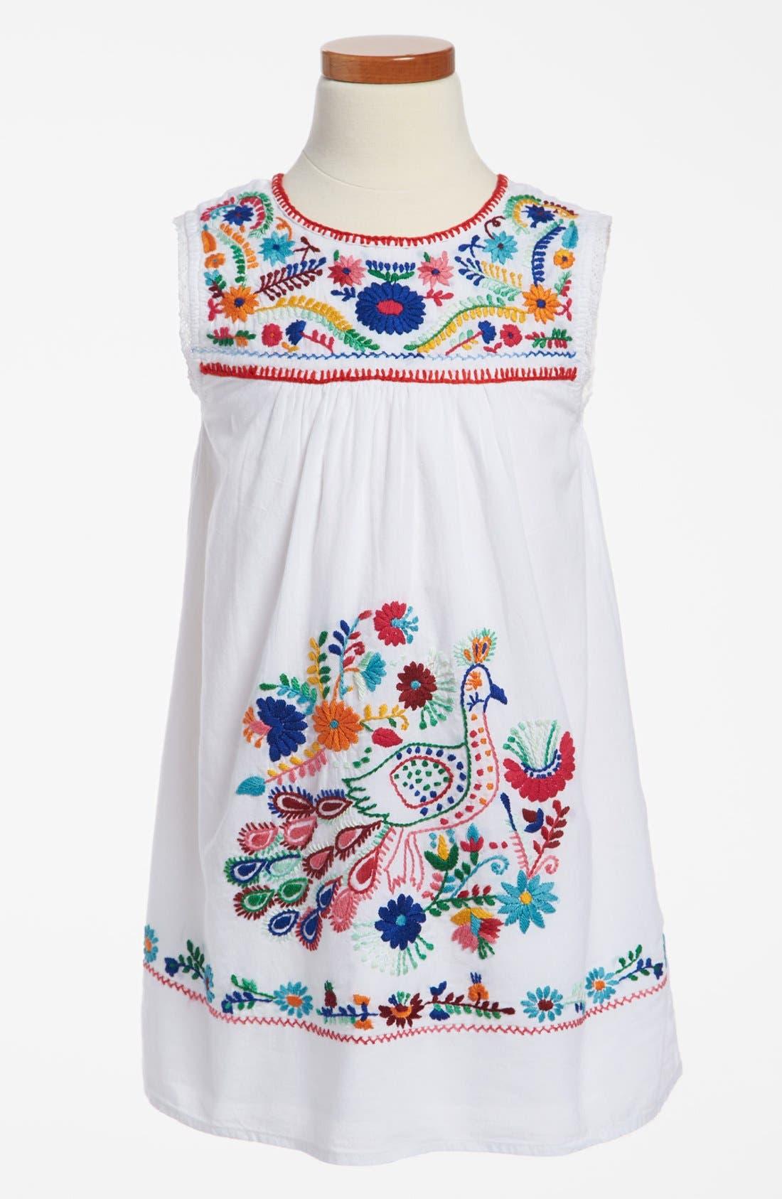 Alternate Image 1 Selected - Peek Dress & Converse Chuck Taylor® Sneaker (Toddler Girls, Little Girls & Big Girls)