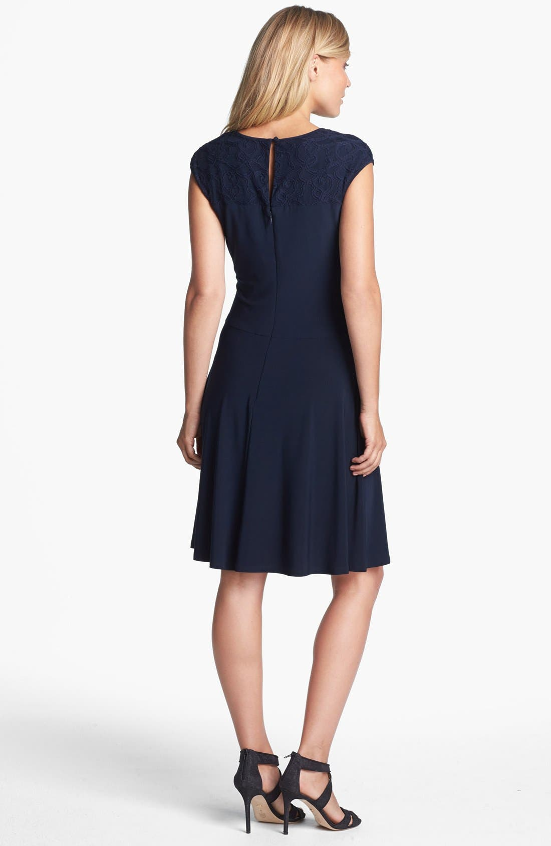 Alternate Image 2  - Adrianna Papell Lace Yoke Jersey Fit & Flare Dress