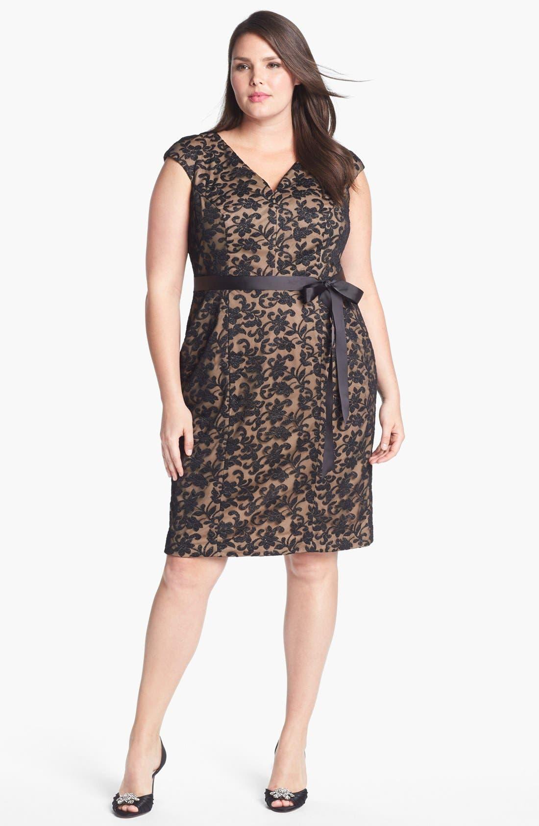 Alternate Image 1 Selected - Alex Evenings Cap Sleeve Lace Sheath Dress (Plus Size)