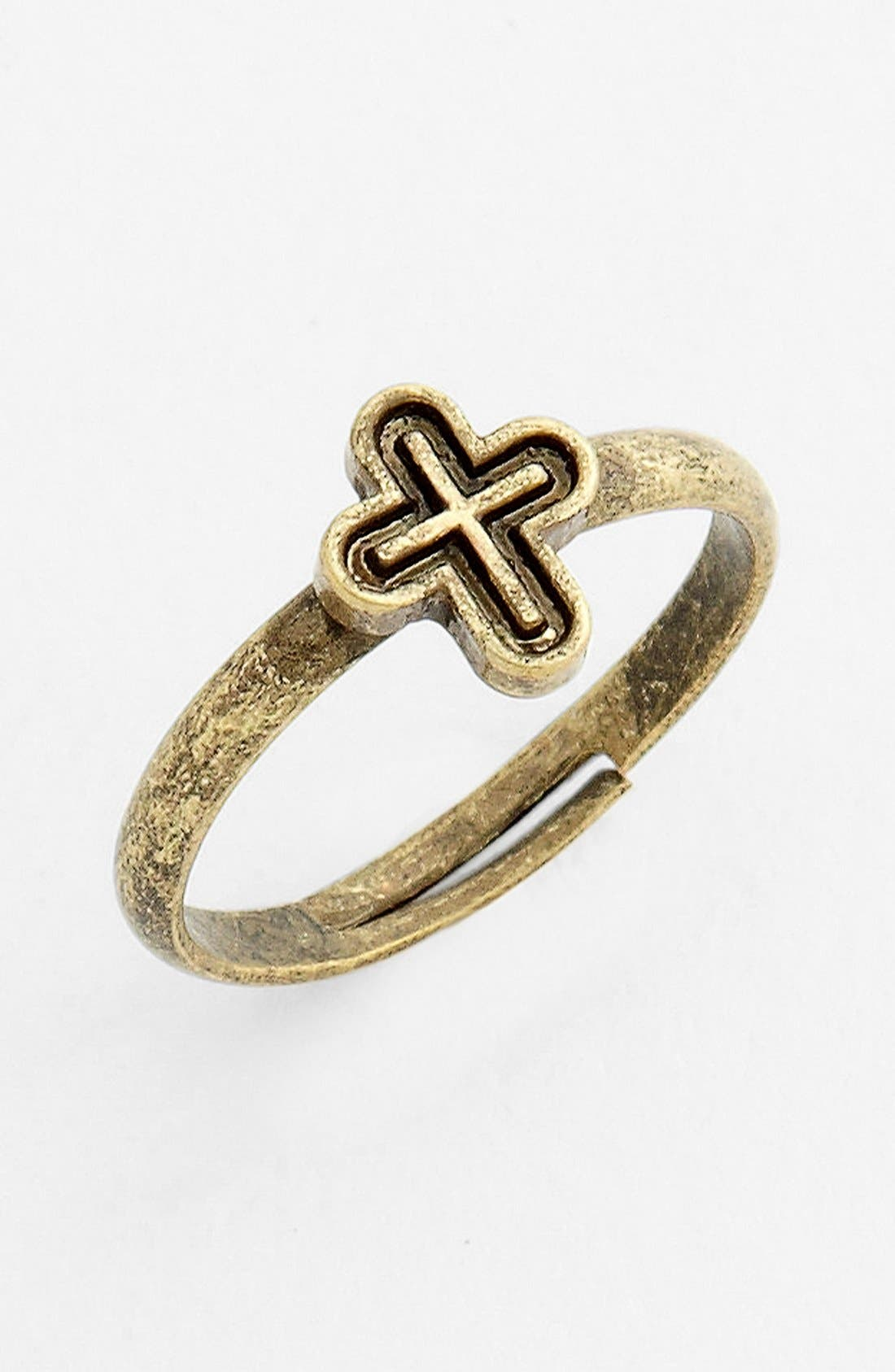 Alternate Image 1 Selected - Stephan & Co. Cross Adjustable Midi Ring (Juniors) (Online Only)