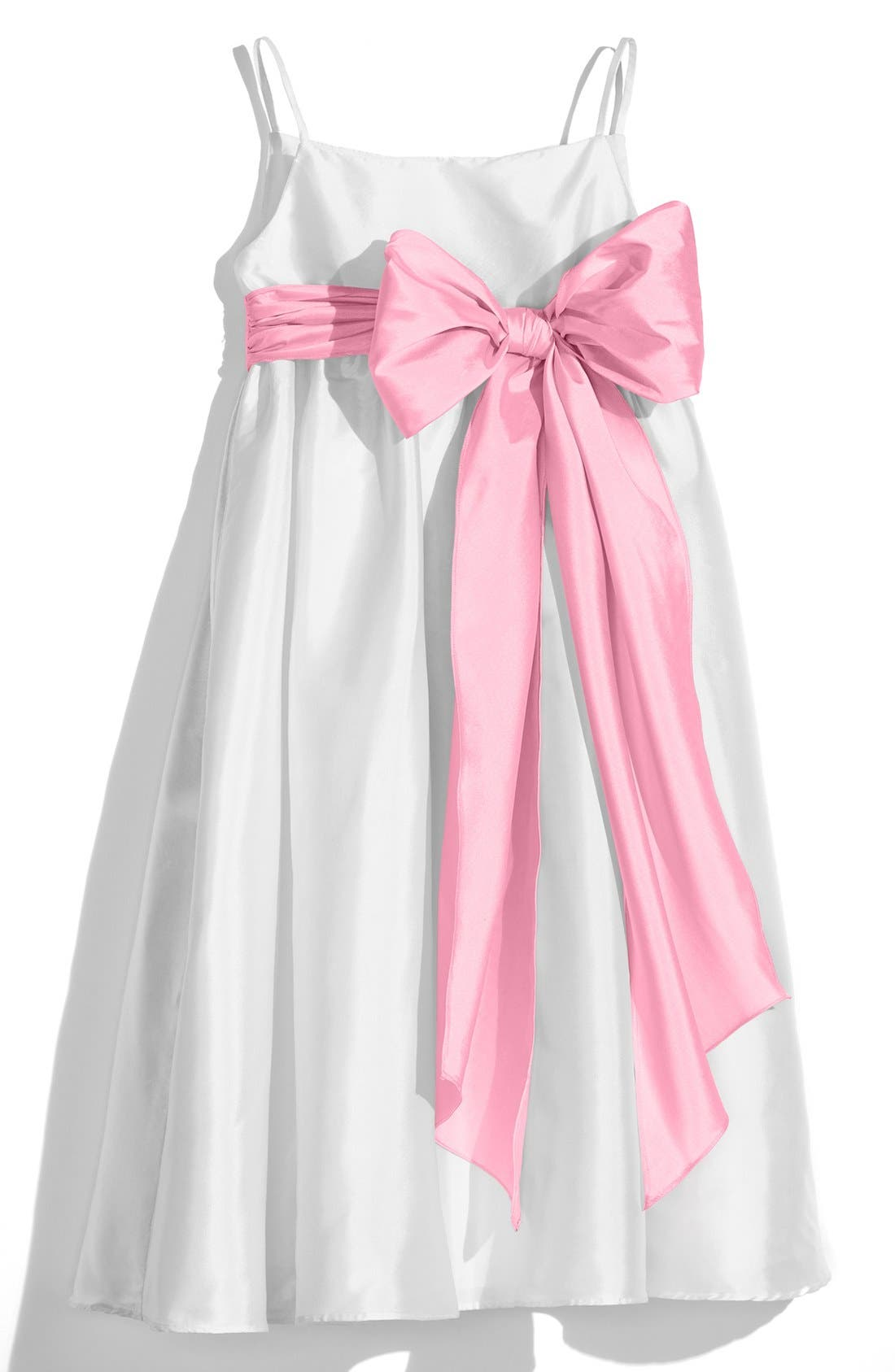 White Sleeveless Empire Waist Taffeta Dress,                             Main thumbnail 1, color,                             White/ Cotton Candy