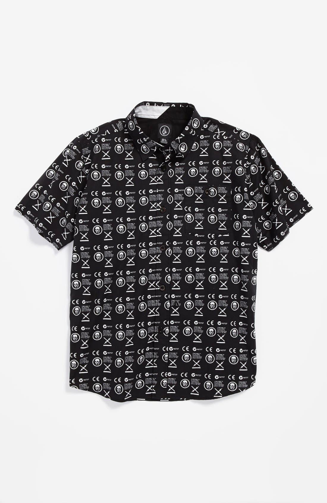 Alternate Image 1 Selected - Volcom 'Skull Phone' Short Sleeve Sport Shirt (Big Boys)