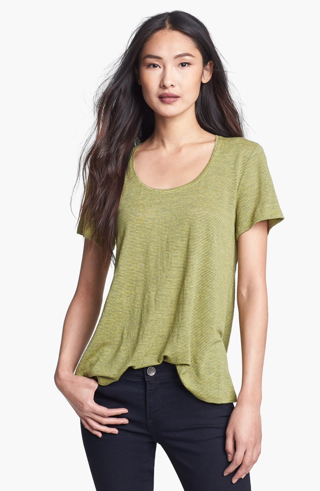U-Neck Stripe Tee,                         Main,                         color, Lime
