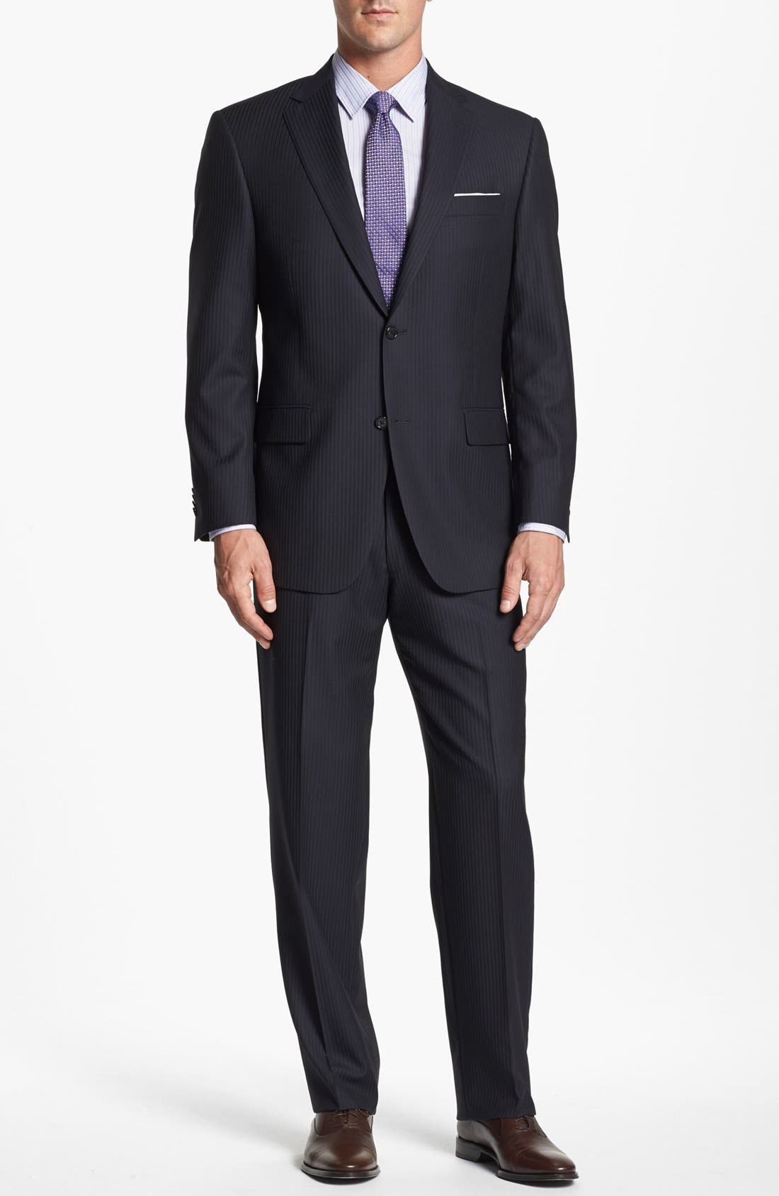 Alternate Image 1 Selected - 2BT SV STRIPE SUIT W/ FLAT FRONT TROUSER CLASSIC