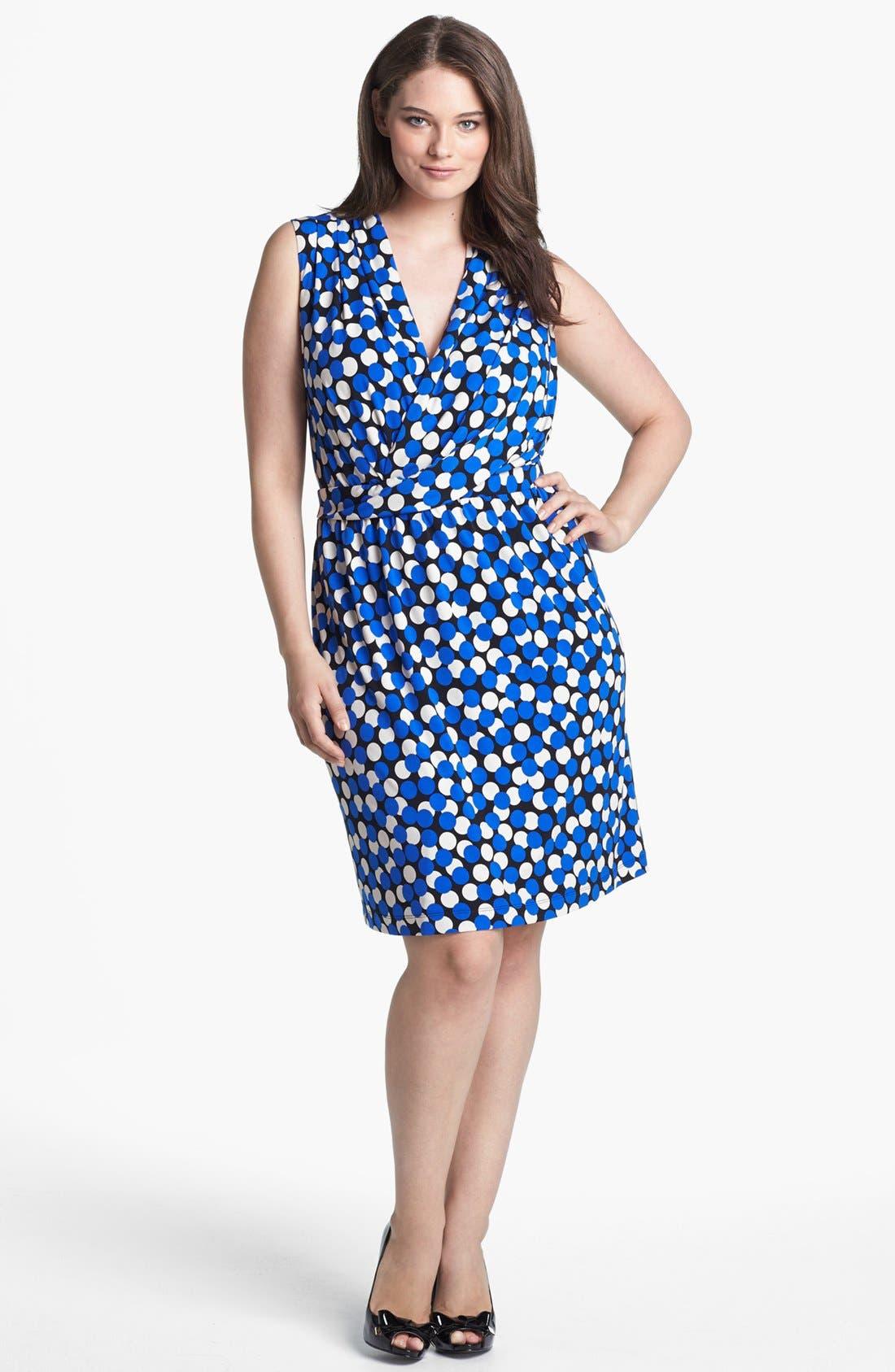 Main Image - Donna Ricco Dot Print Sheath Dress (Plus Size)