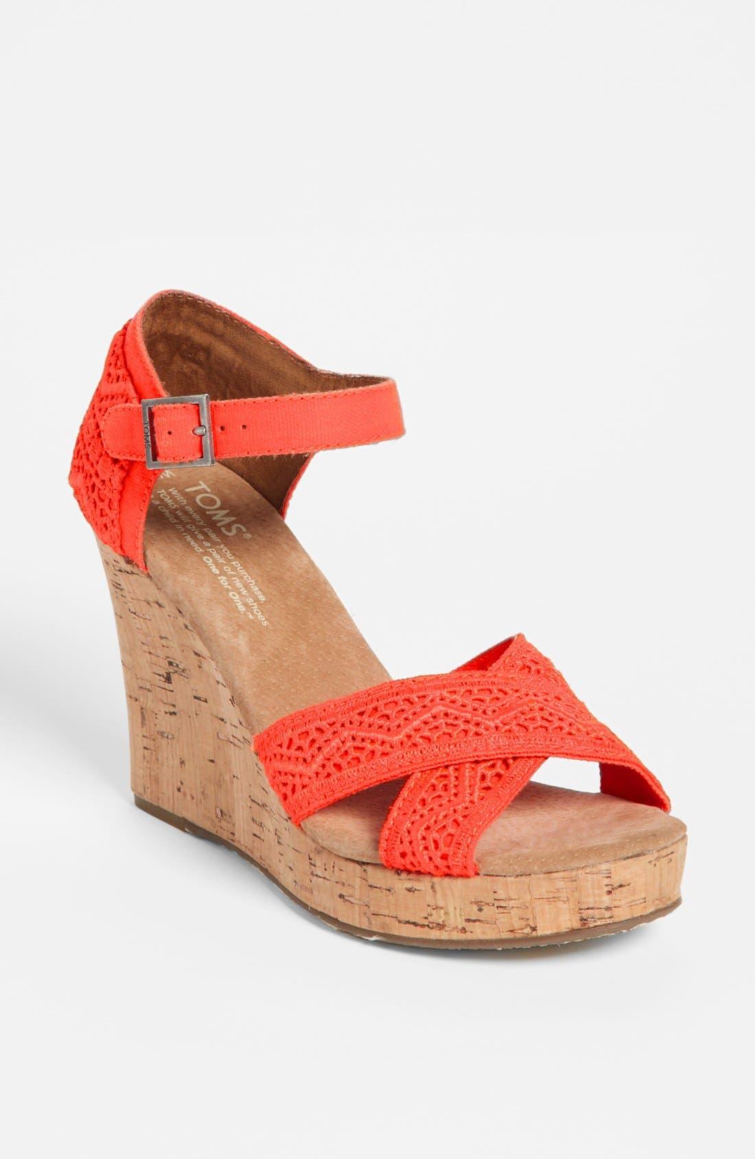 Alternate Image 1 Selected - TOMS Crochet Wedge Sandal