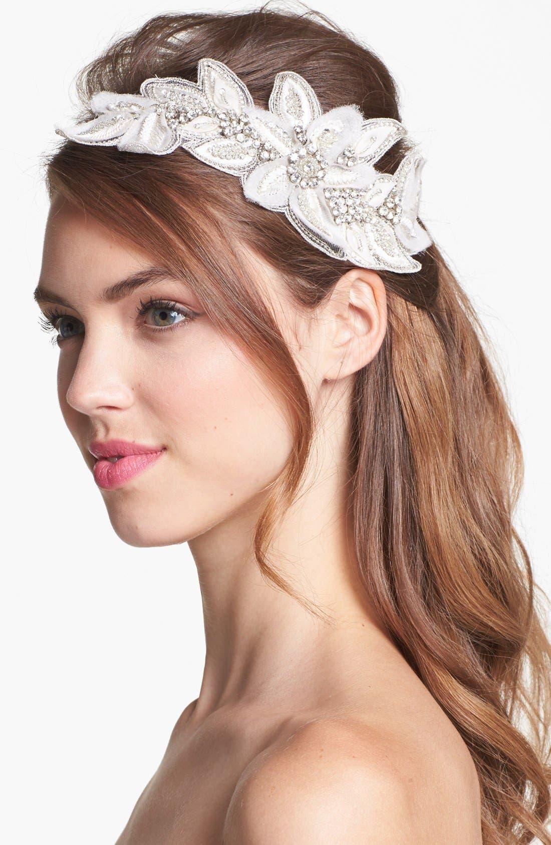 Main Image - Untamed Petals by Amanda Judge 'Bianca' Floral Beaded Head Wrap