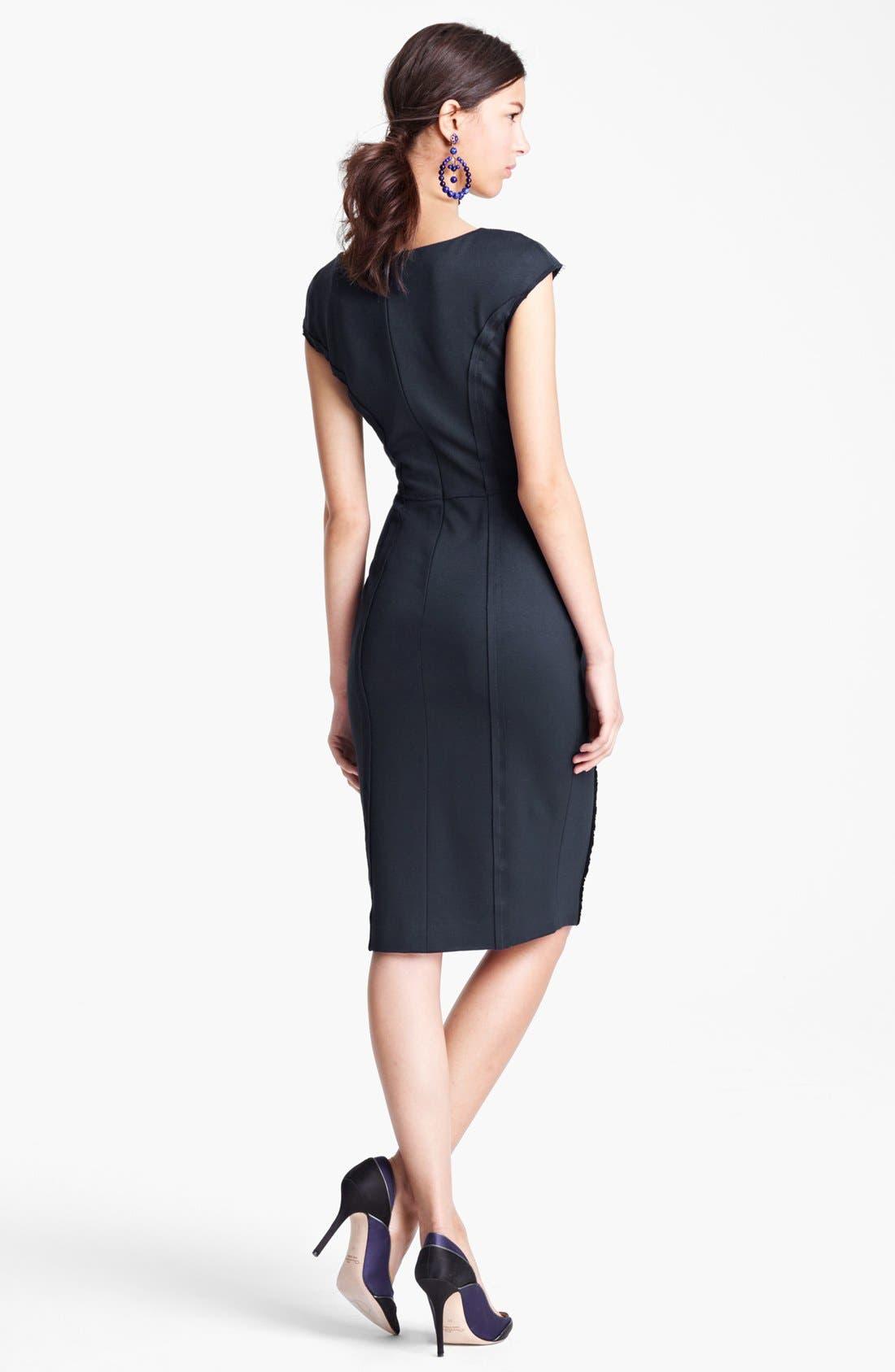Alternate Image 2  - Oscar de la Renta Ruched Front Jersey Dress
