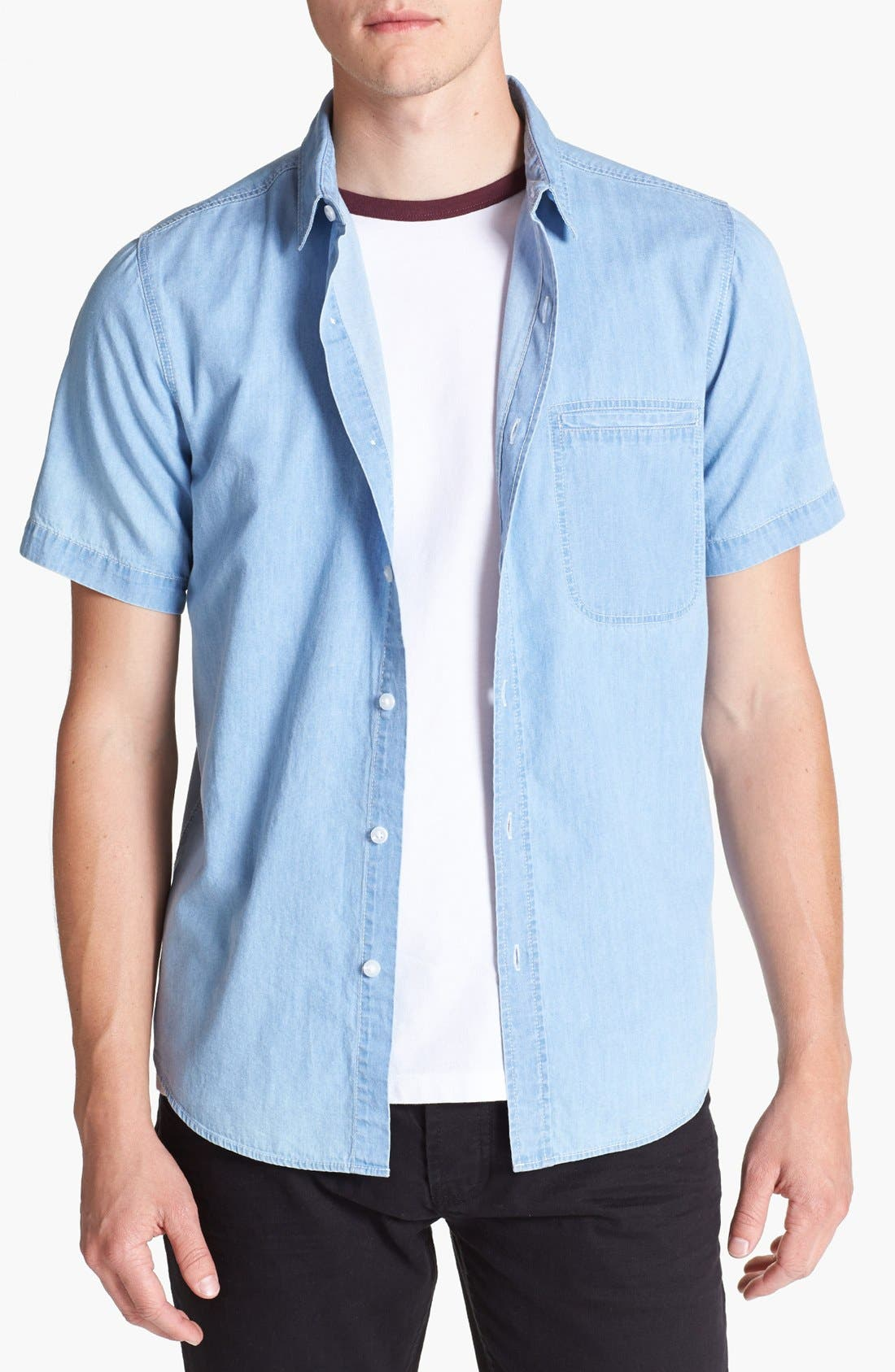 Main Image - Topman Short Sleeve Denim Shirt