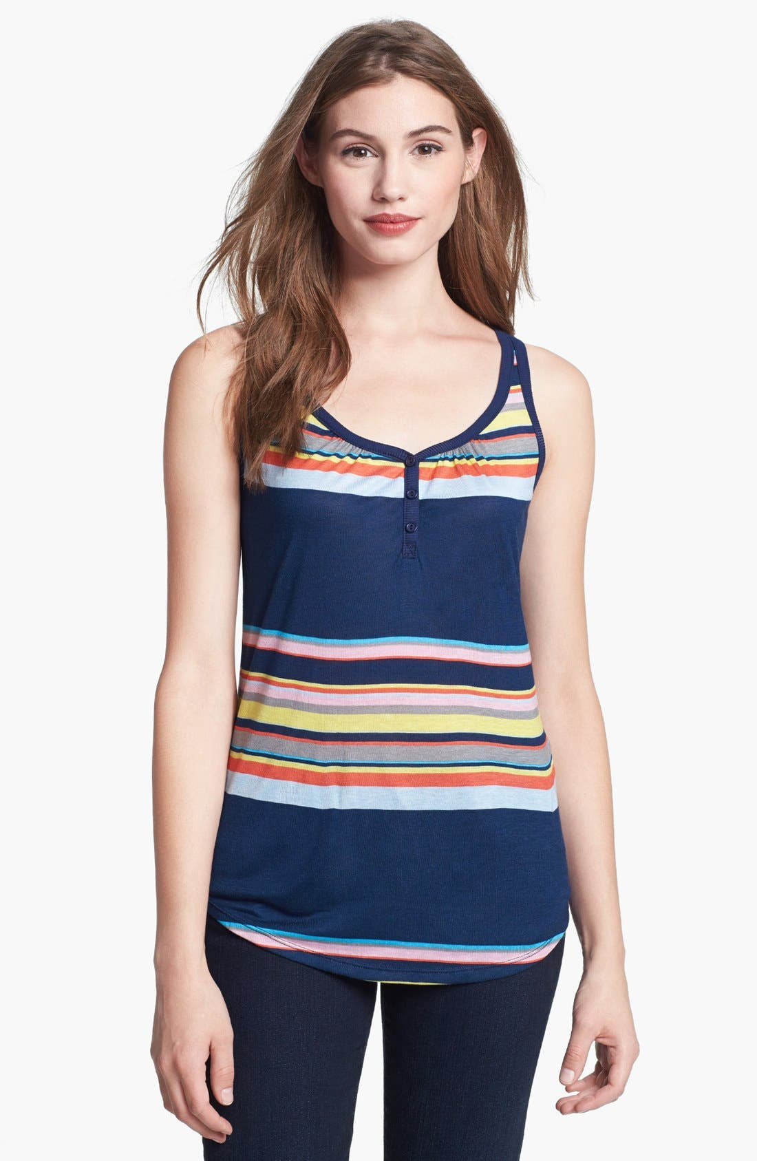 Alternate Image 1 Selected - Olivia Moon Henley Tank (Plus Size)