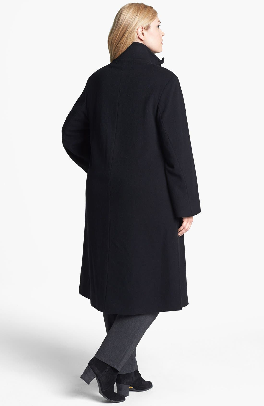 Alternate Image 2  - Cinzia Rocca Due Stand Collar Long Wool & Angora Blend Coat (Plus Size)