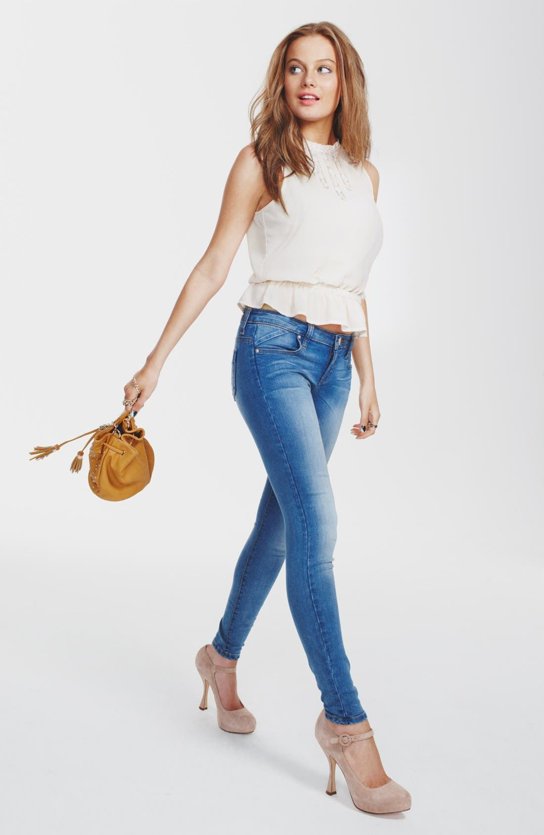 Alternate Image 1 Selected - Lush Tank & STS Blue Skinny Jeans