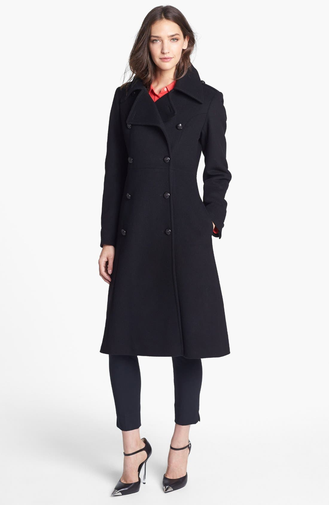 Main Image - French Connection Fit & Flare Wool Blend Coat