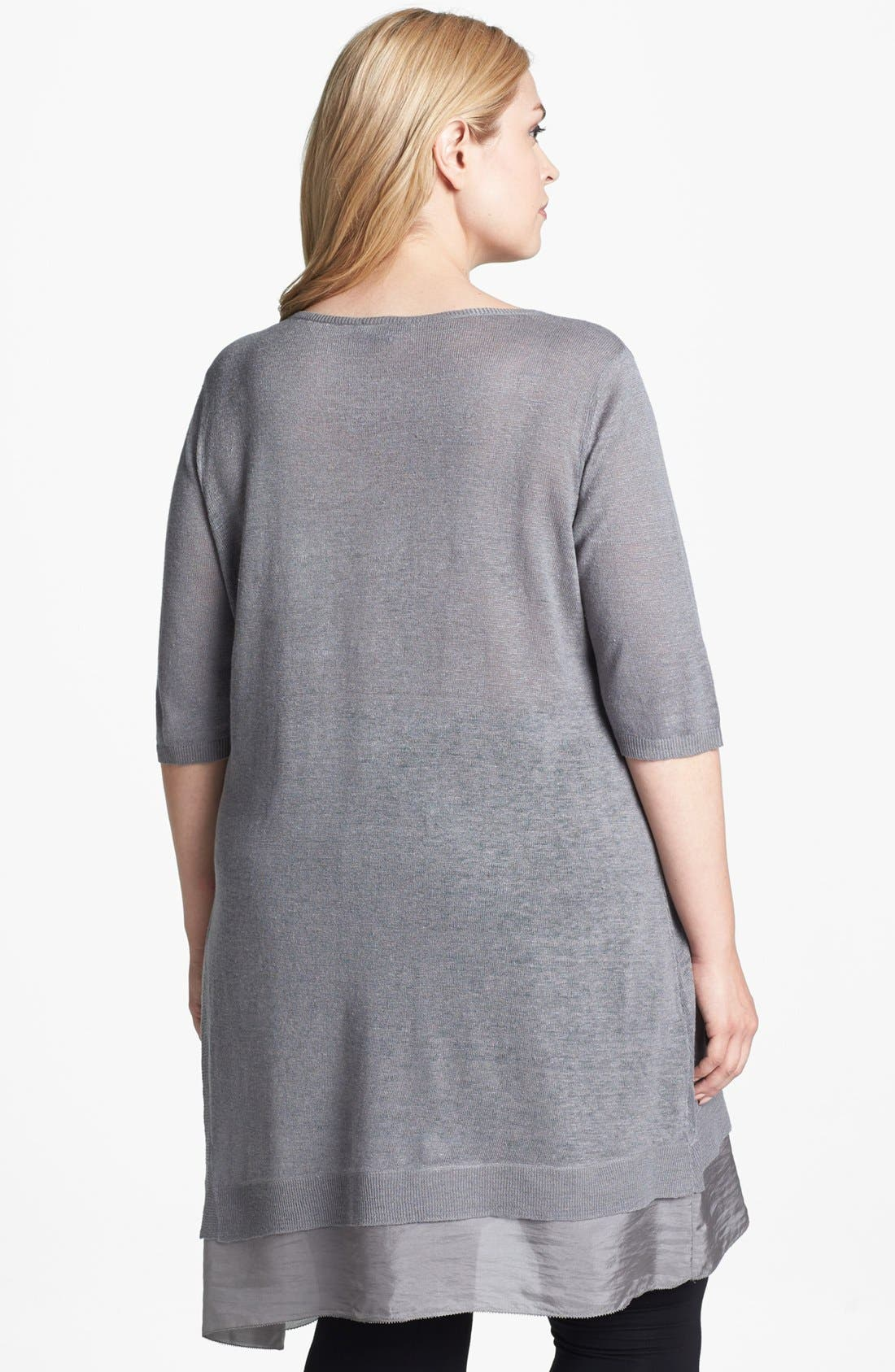 Alternate Image 2  - Eileen Fisher Linen & Silk Tunic Dress (Plus Size)