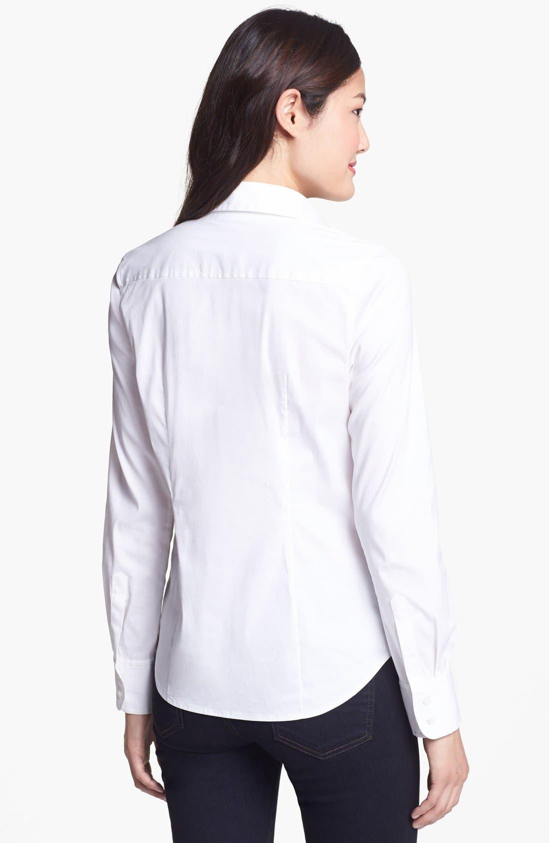 Alternate Image 2  - Halogen® Stretch Poplin Shirt (Regular & Petite)