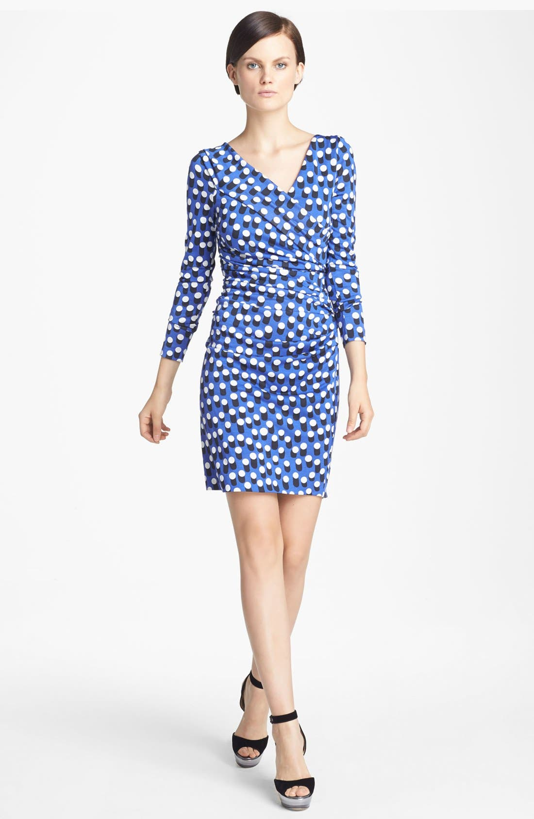 Alternate Image 1 Selected - Diane von Furstenberg 'Bentley' Print Ruched Silk Dress