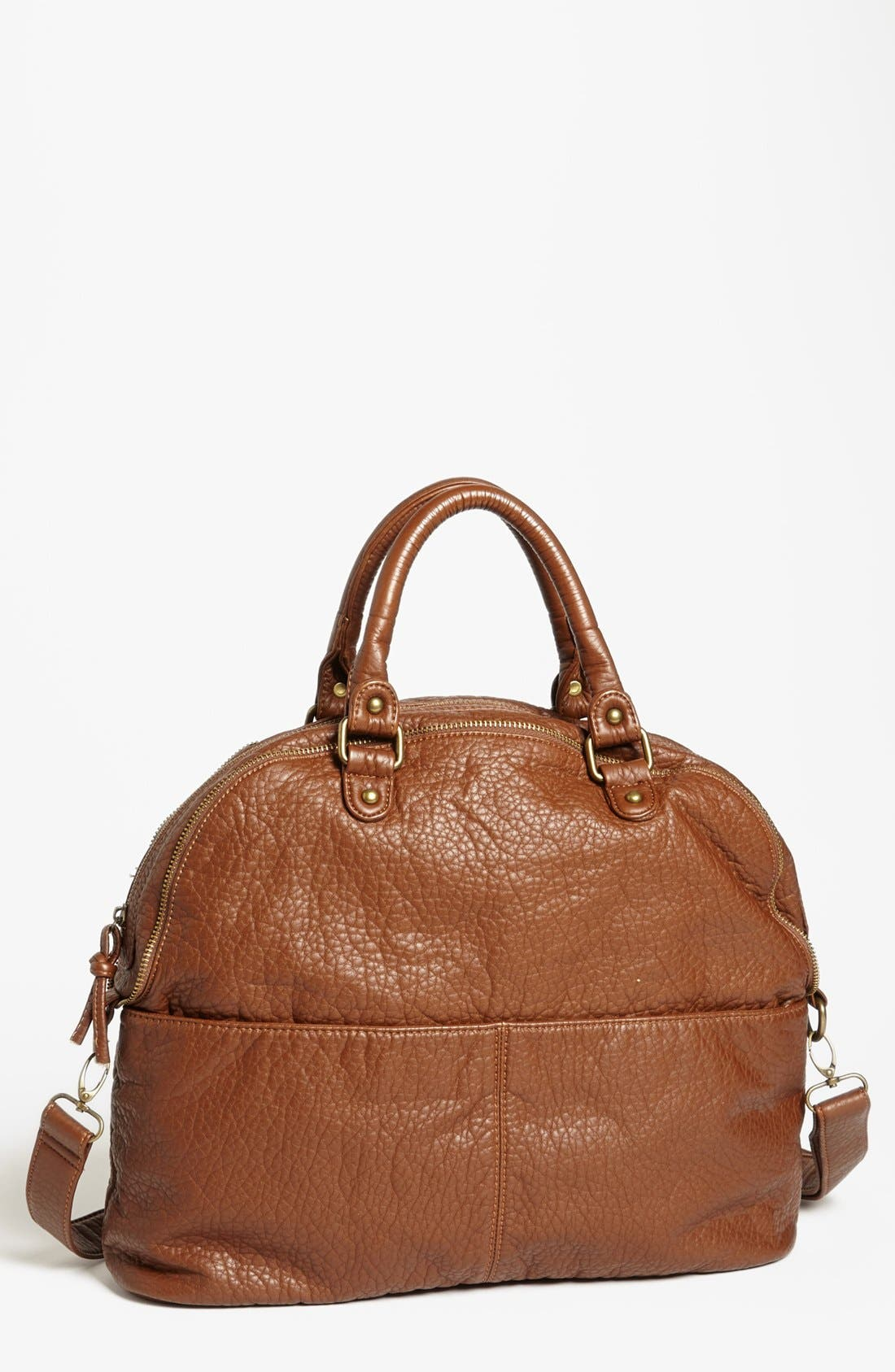 Alternate Image 1 Selected - Cesca Crinkled Faux Leather Satchel (Juniors) (Online Only)