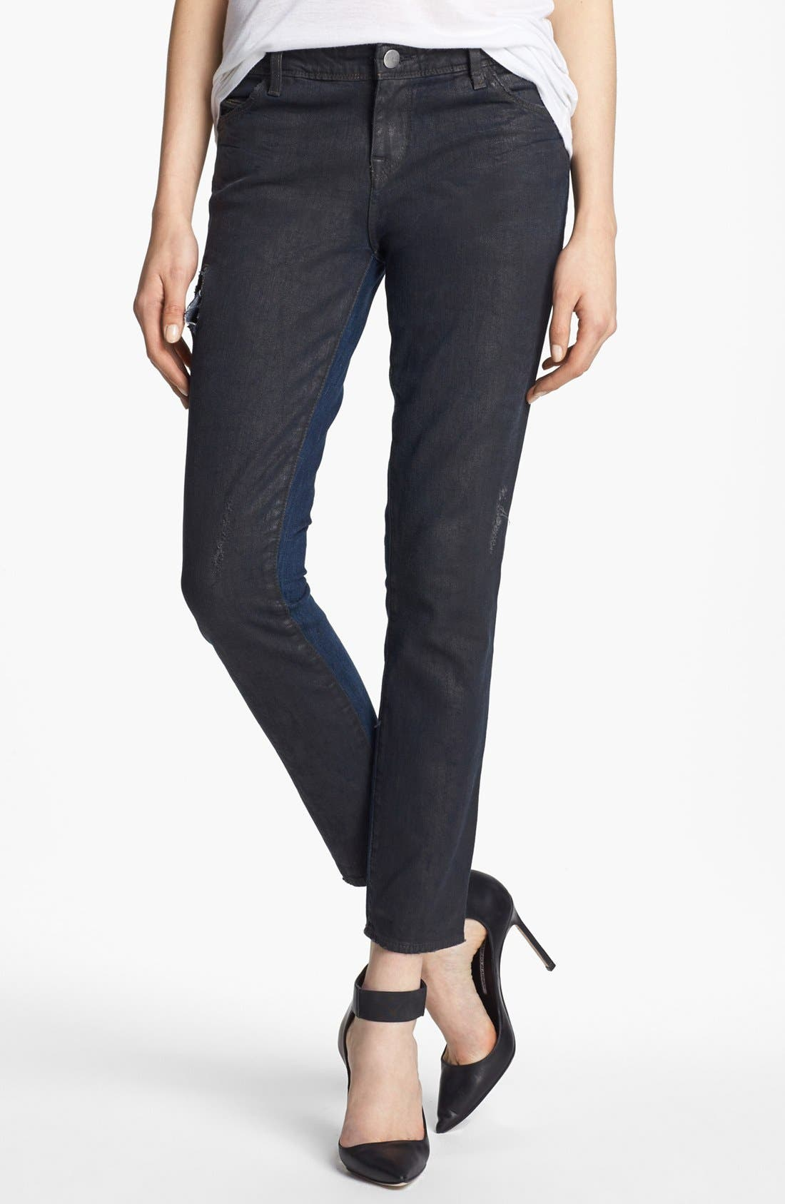 Alternate Image 1 Selected - EACH X OTHER Waxed Two Tone Boyfriend Jeans