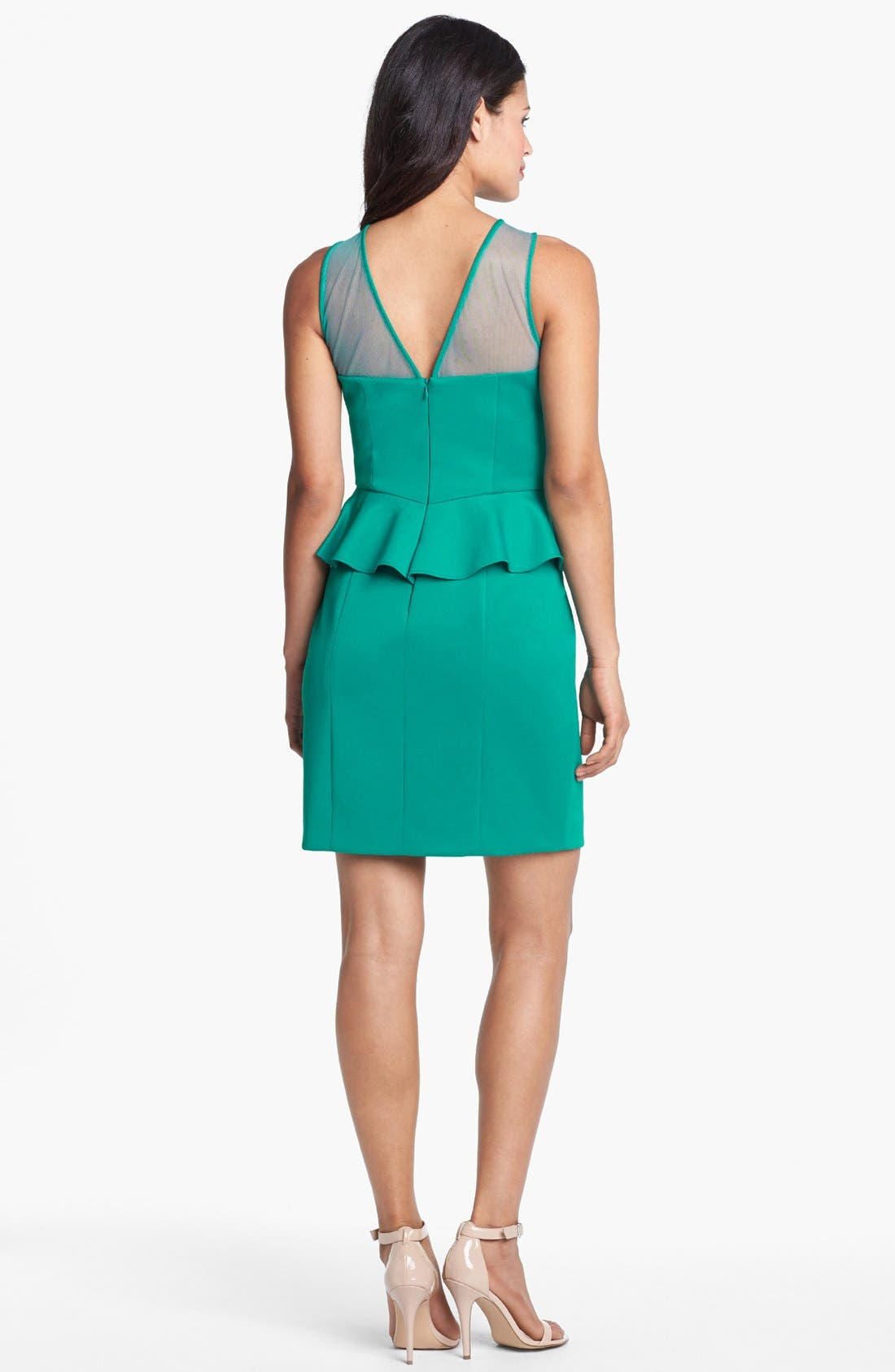 Alternate Image 2  - Hailey by Adrianna Papell Sleeveless Illusion Peplum Dress (Online Only)